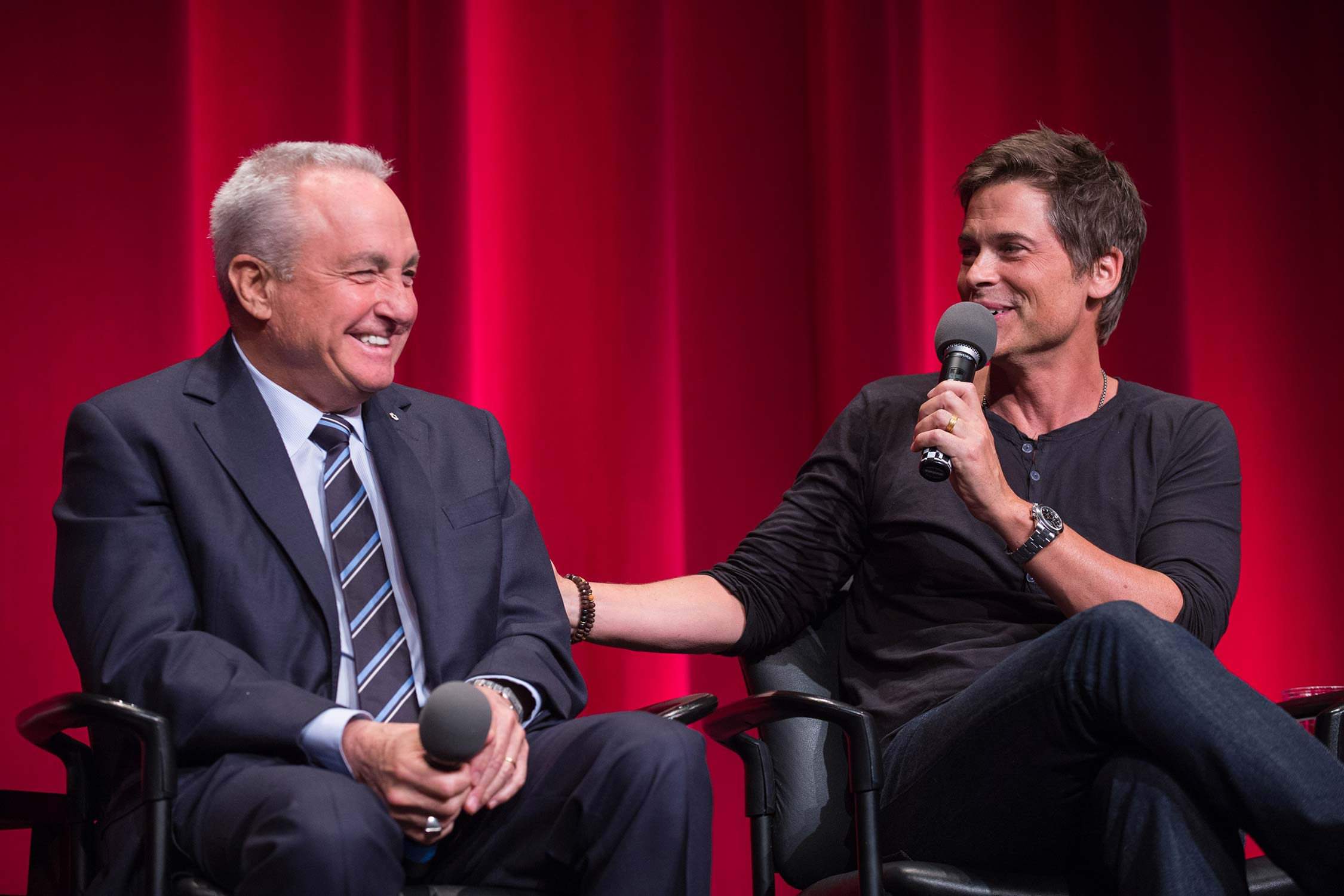 Lorne Michaels and Rob Lowe