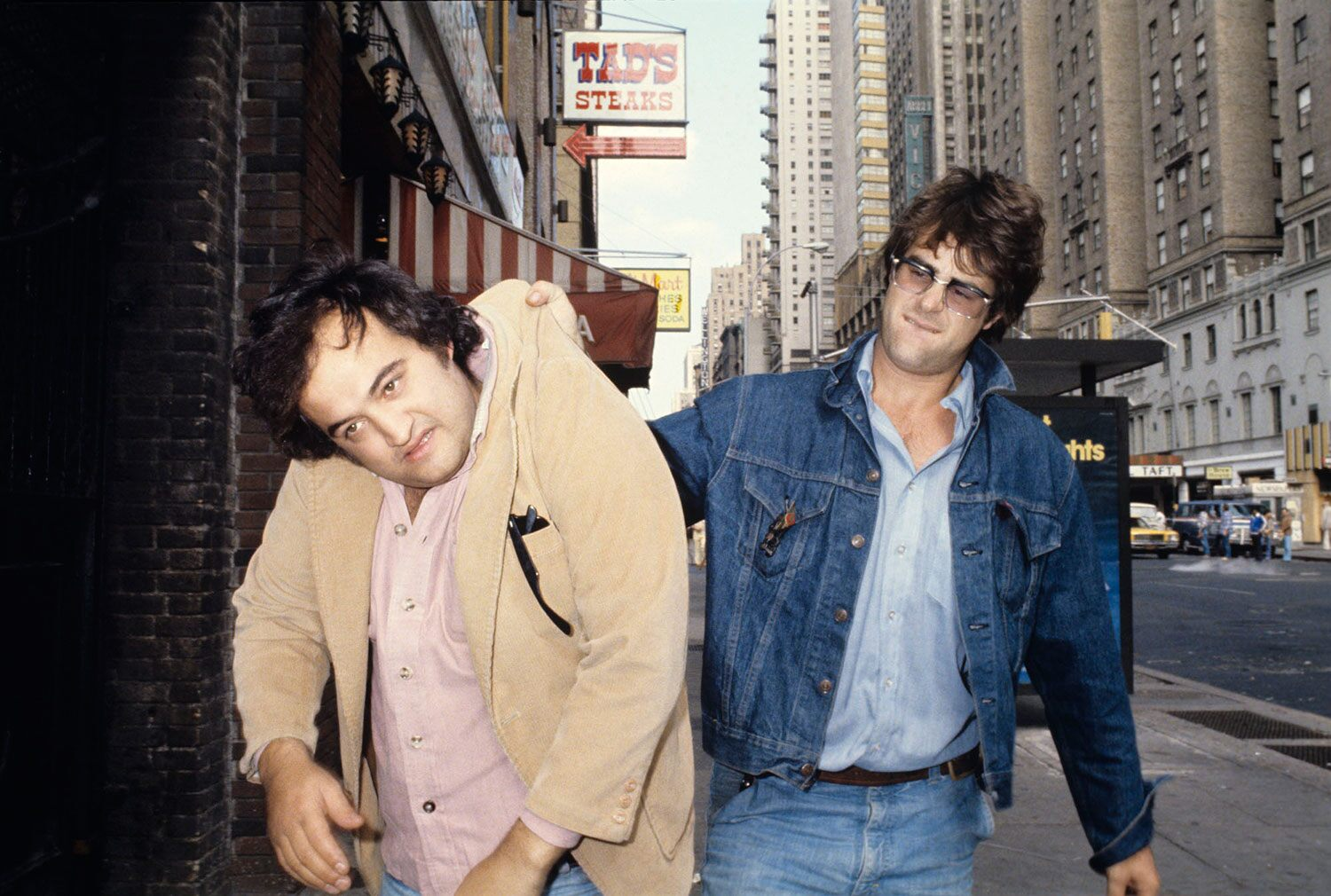 The Blues Brothers act originated in 1978 as recurring musical appearances by John Belushi and Dan Aykroyd on their breakthrough TV show, Saturday Night Live.
