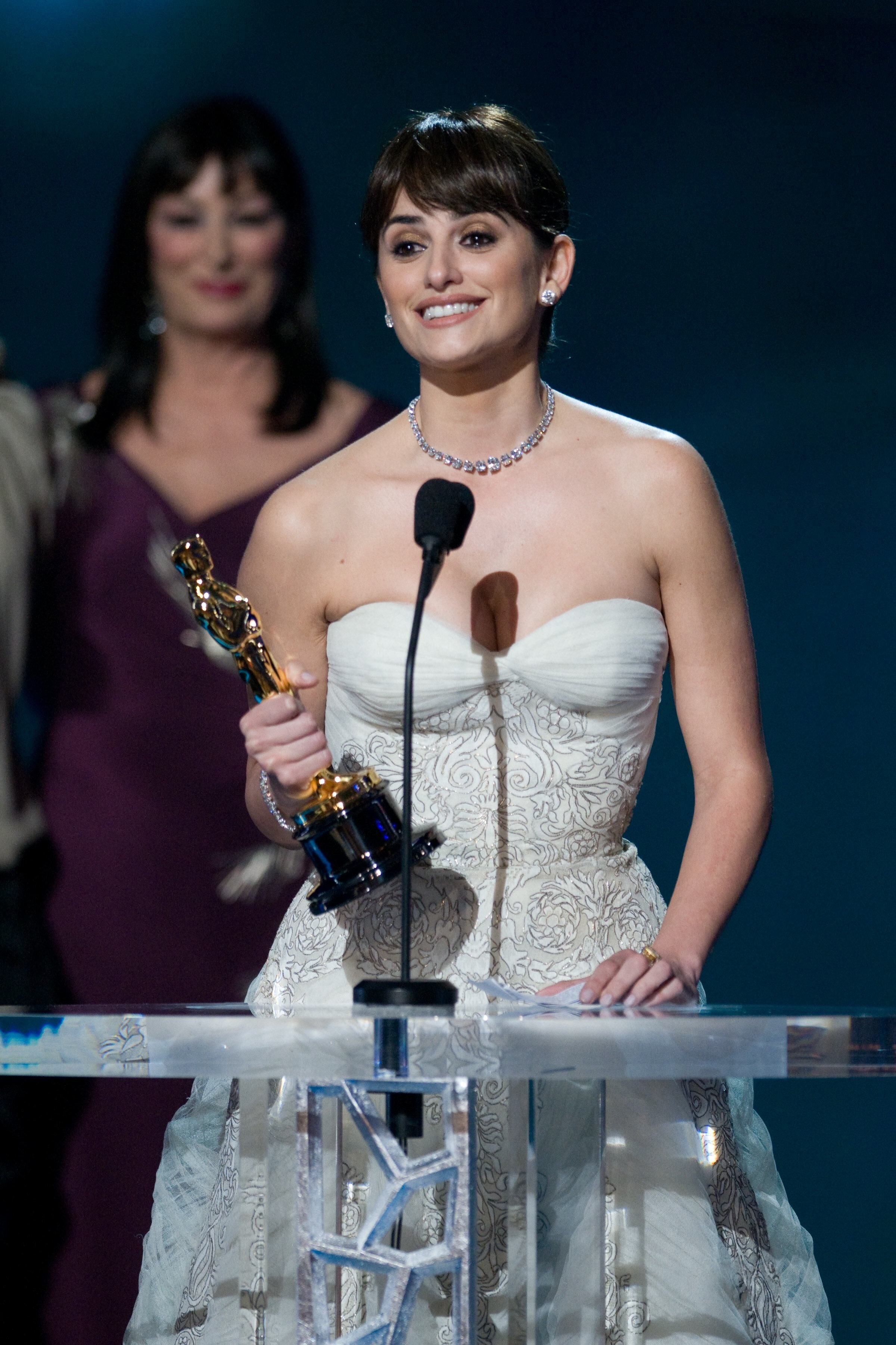 "Penélope Cruz accepts the Oscar® for Actress in a Supporting Role for her role in ""Vicky Cristina Barcelona."""
