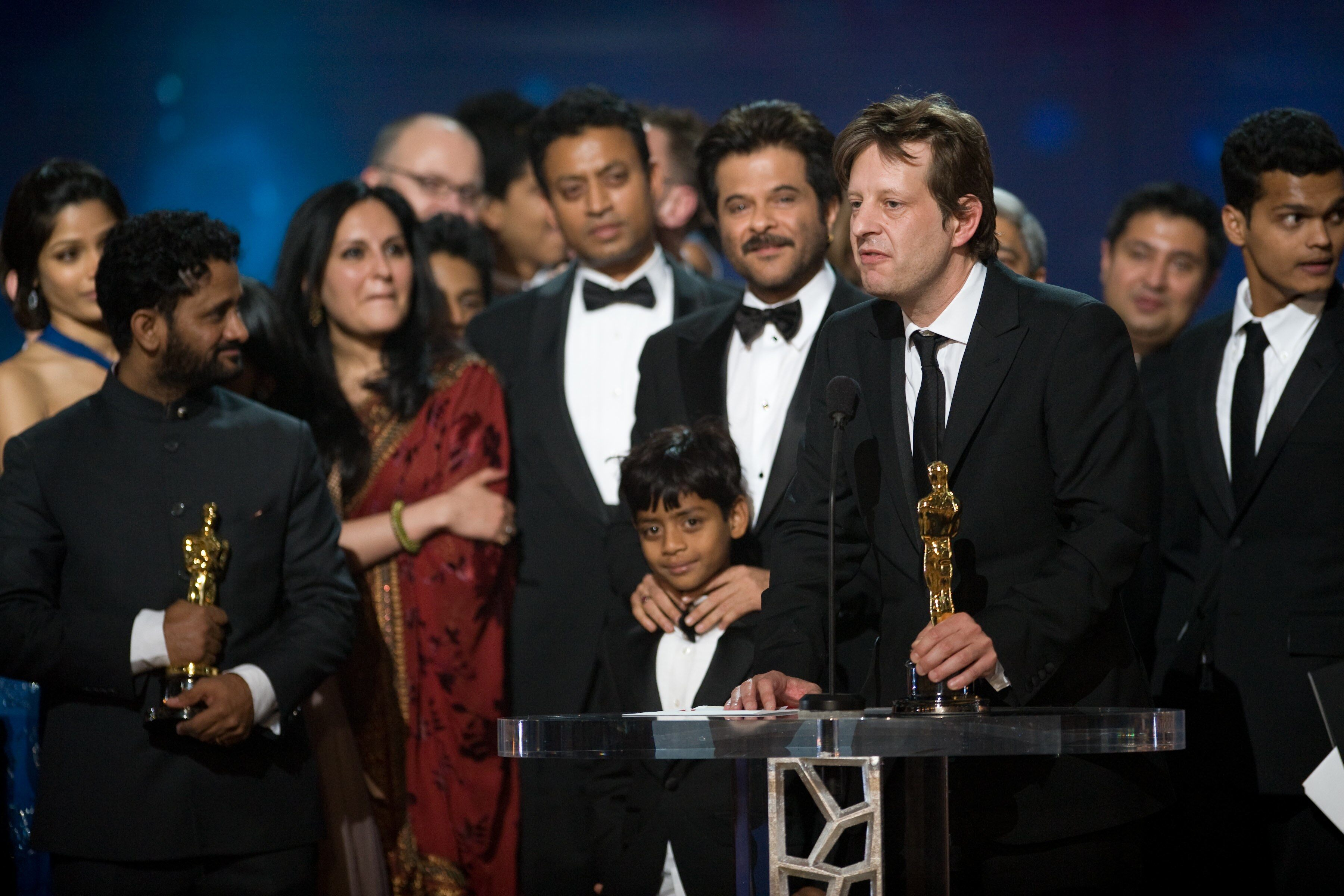 "For Best motion picture of the year, the Oscar® goes to ""Slumdog Millionaire."""