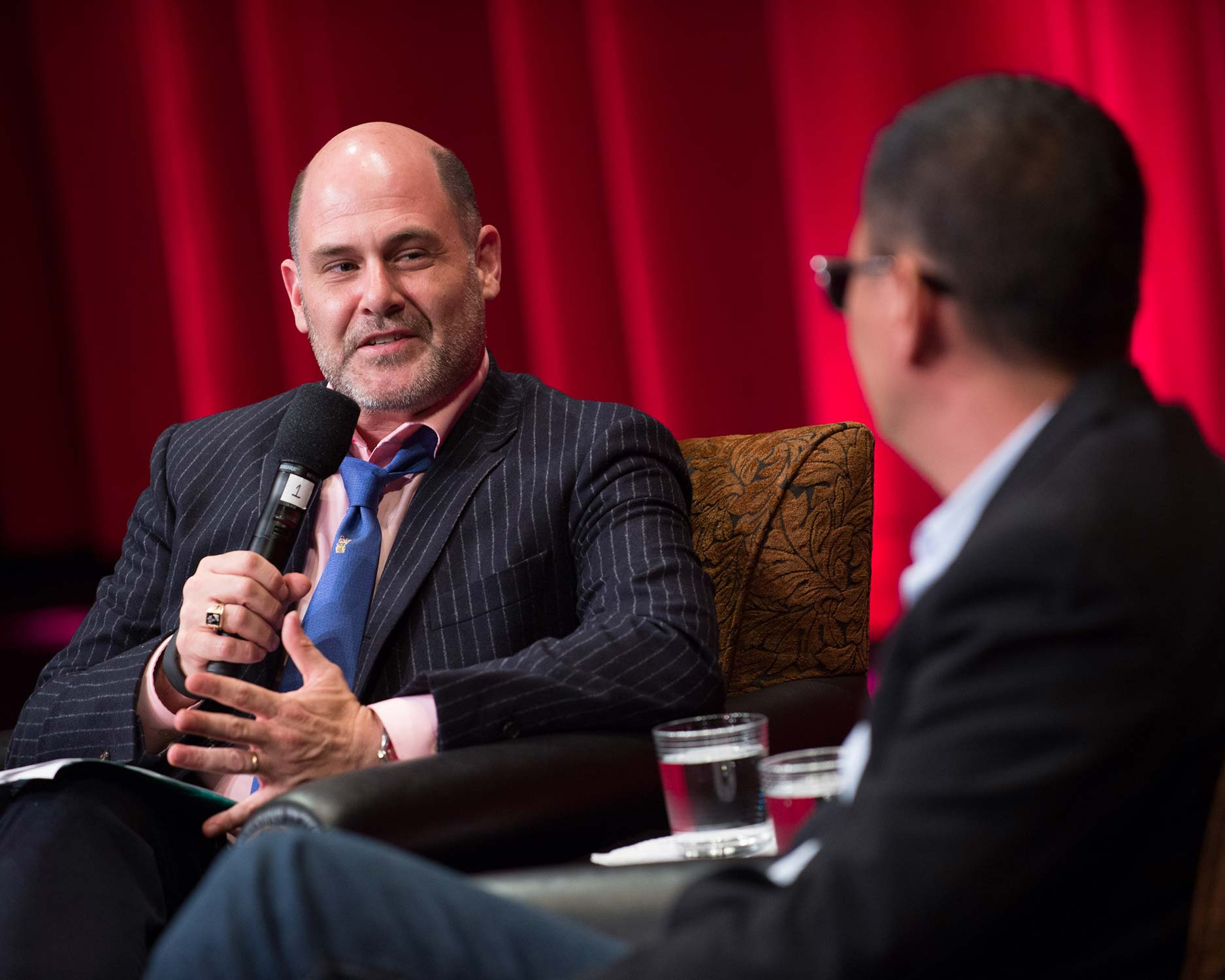 Host Matt Weiner (left) and writer-director Wong Kar Wai