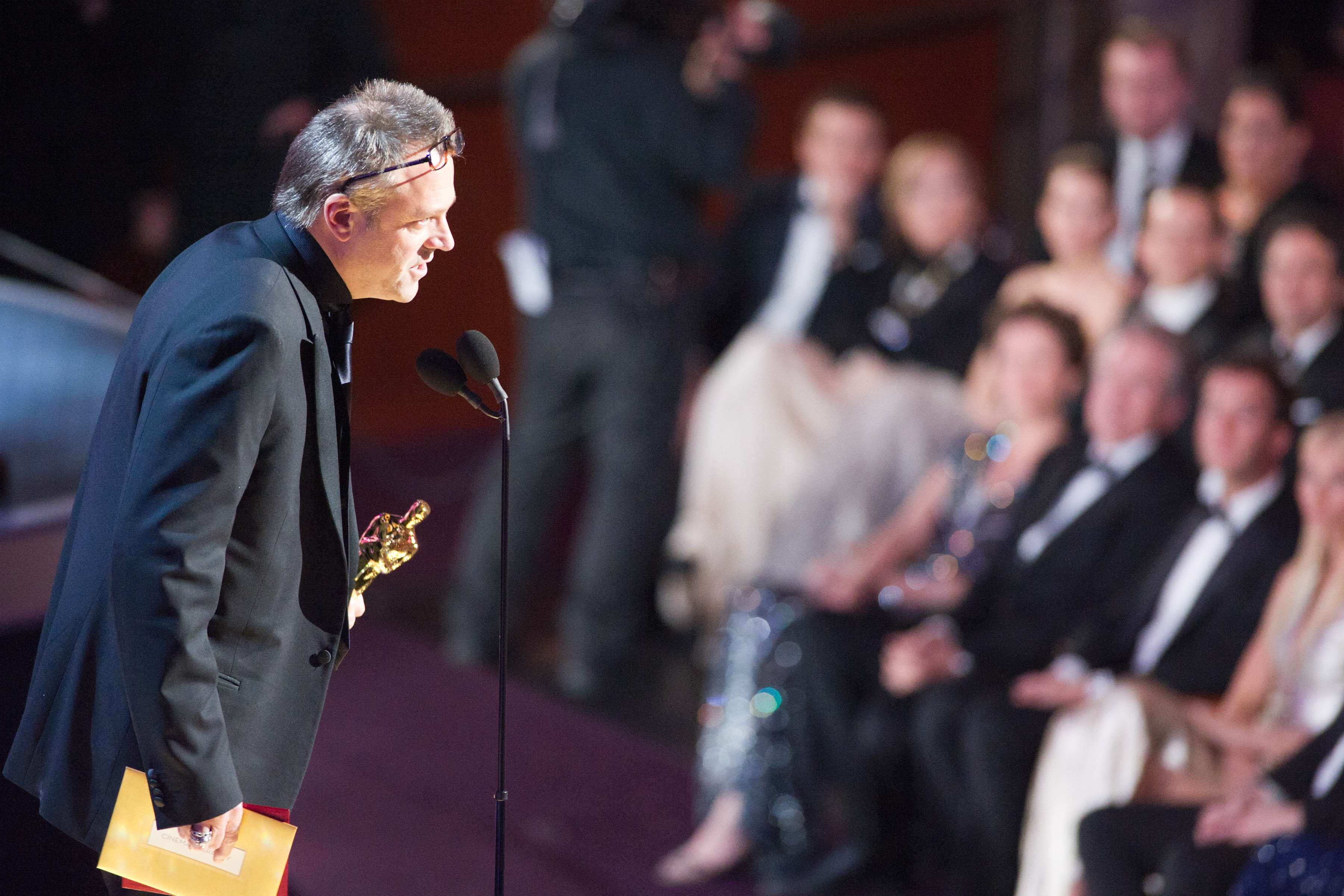 "Wally Pfister accepts the Oscar® for Achievement in Cinematography for work on ""Inception."""