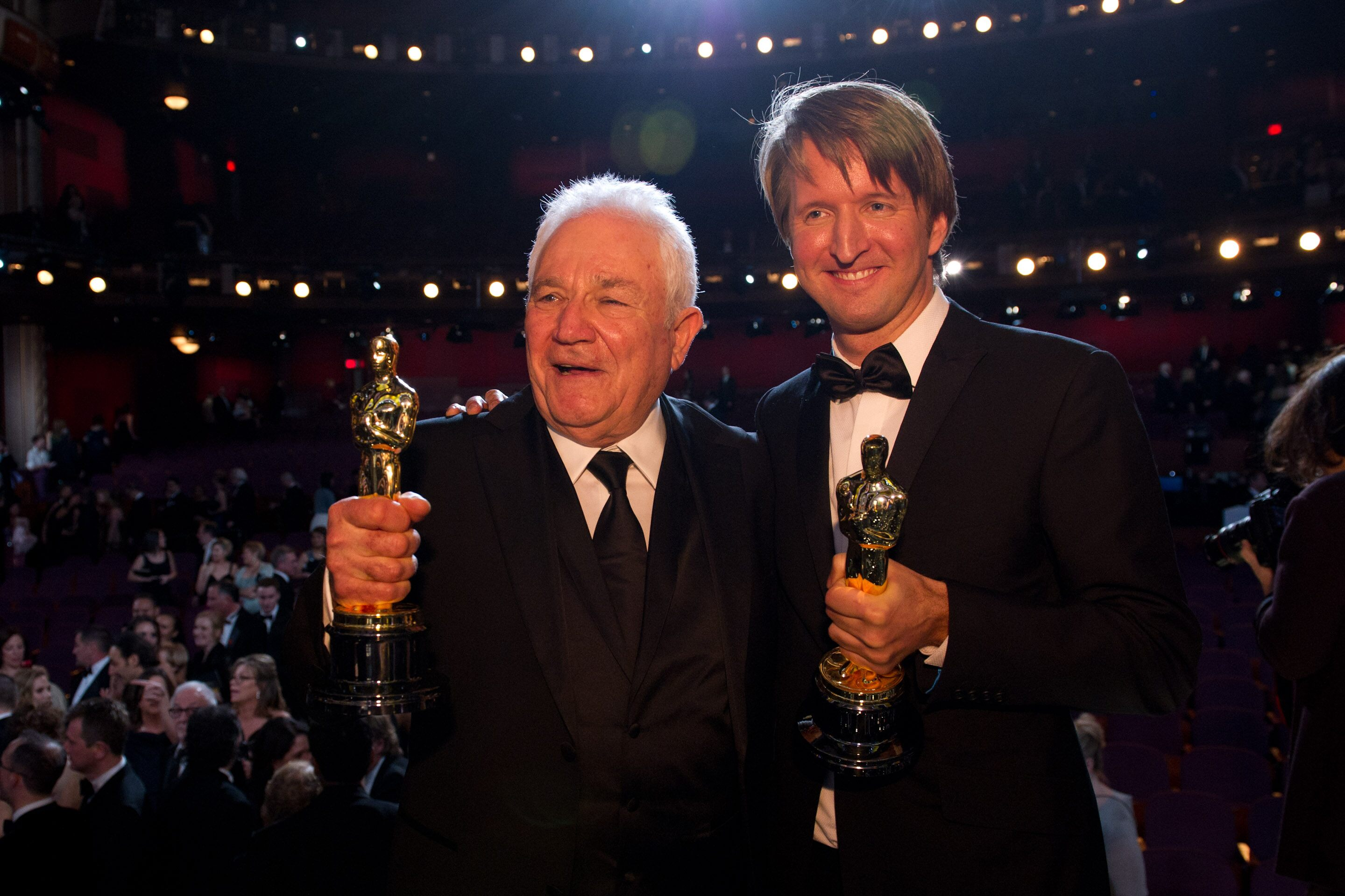 "Oscar®-winners David Seidler, for the category of Original Screenplay and Tom Hooper, winner for Achievement in Directing for their work on ""The King's Speech"" pose onstage."