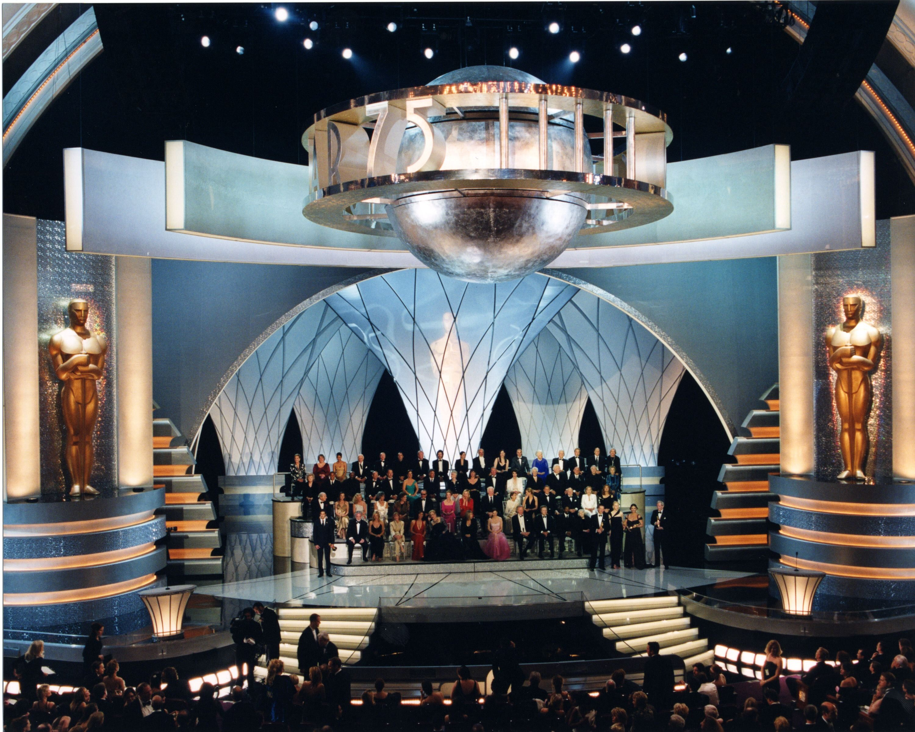 Winners of Best Actor and Actress awards through the years gather on stage for the 75th Academy Awards.