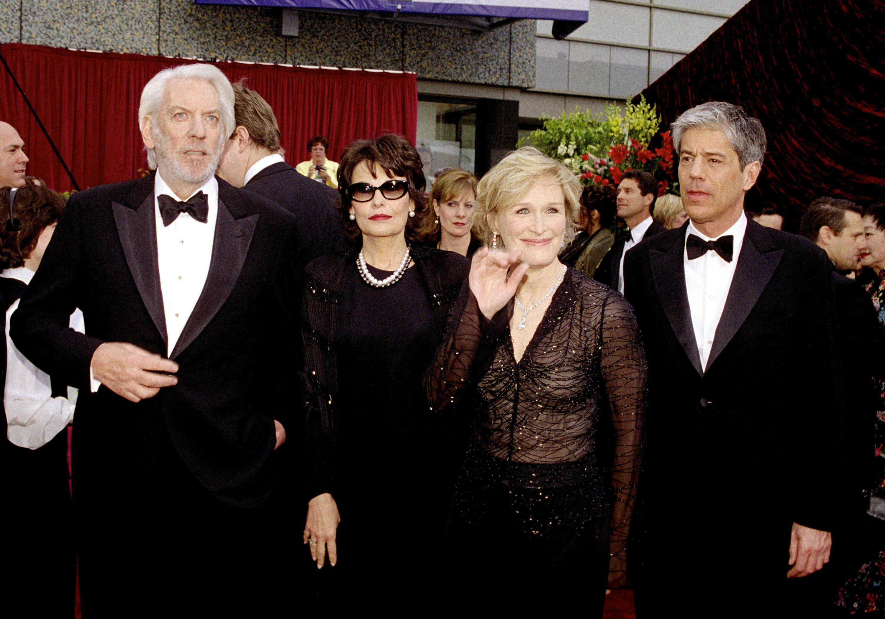 Donald Sutherland (left), Glenn Close (third from left) and escorts arrive.