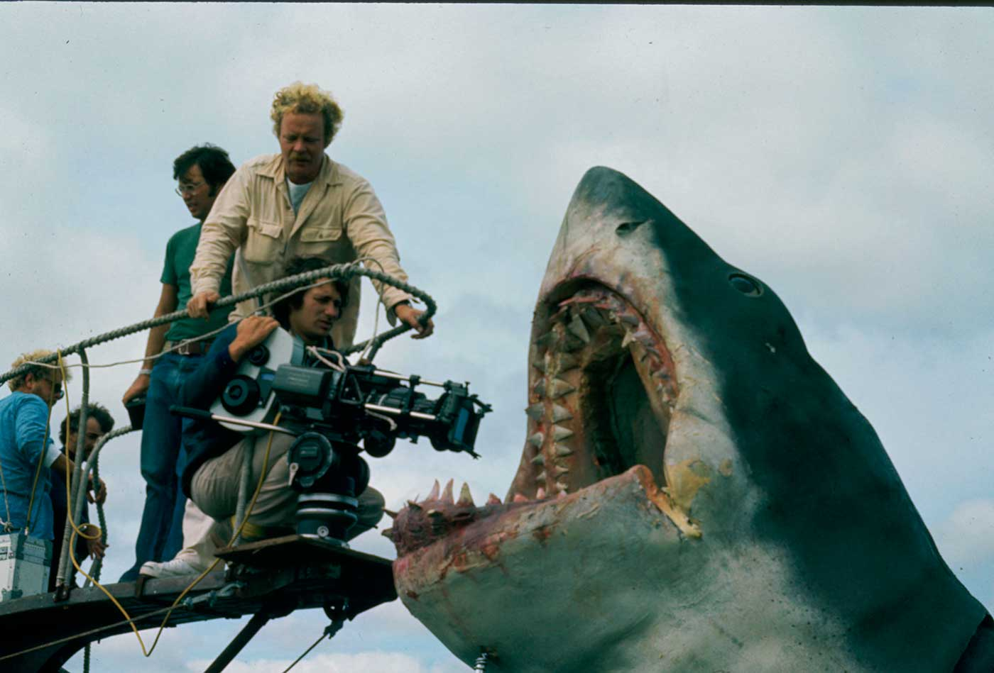 Steven Spielberg and Bruce the shark