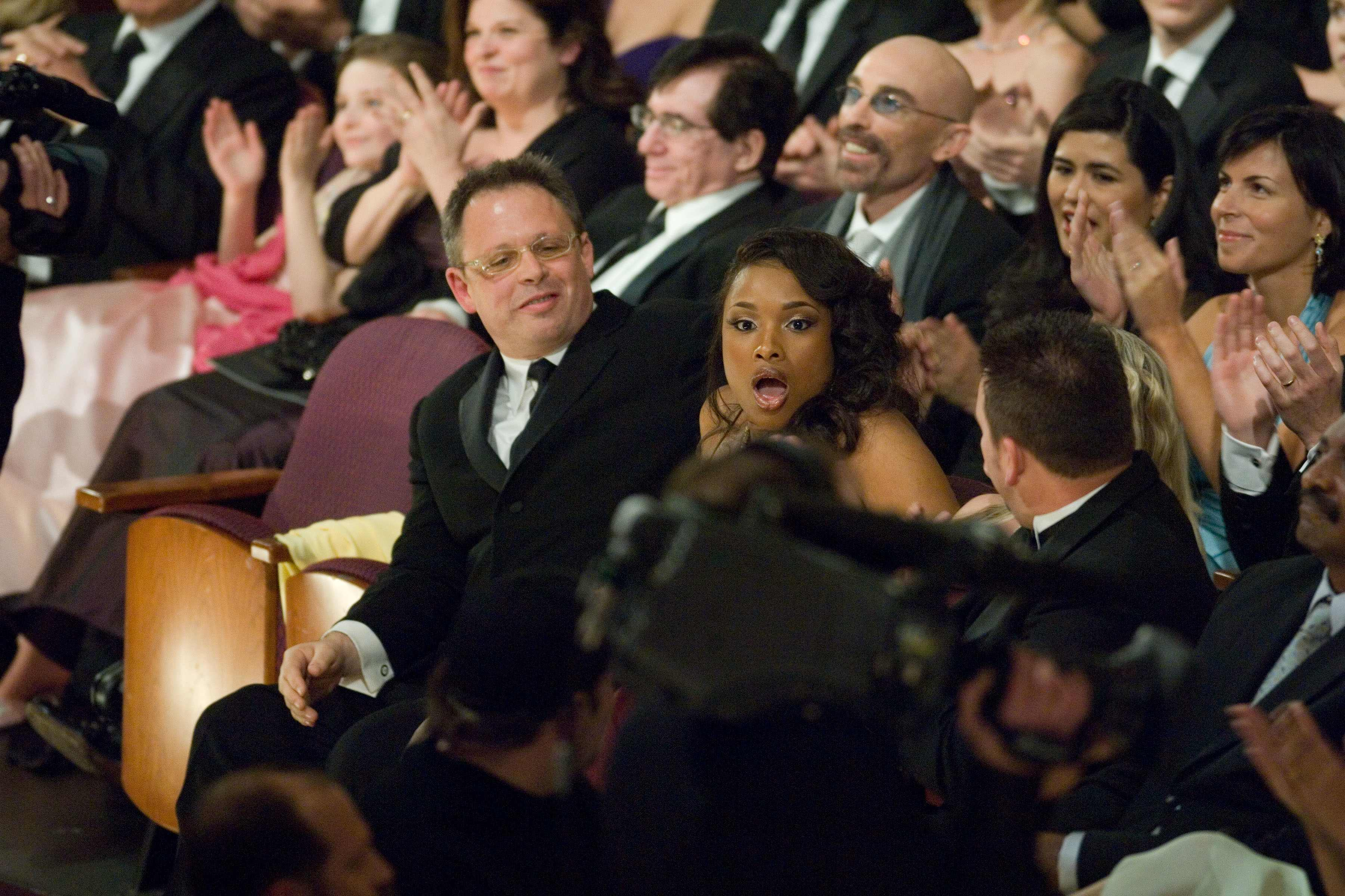Jennifer Hudson reacts at winning the award for Best Supporting Actress.