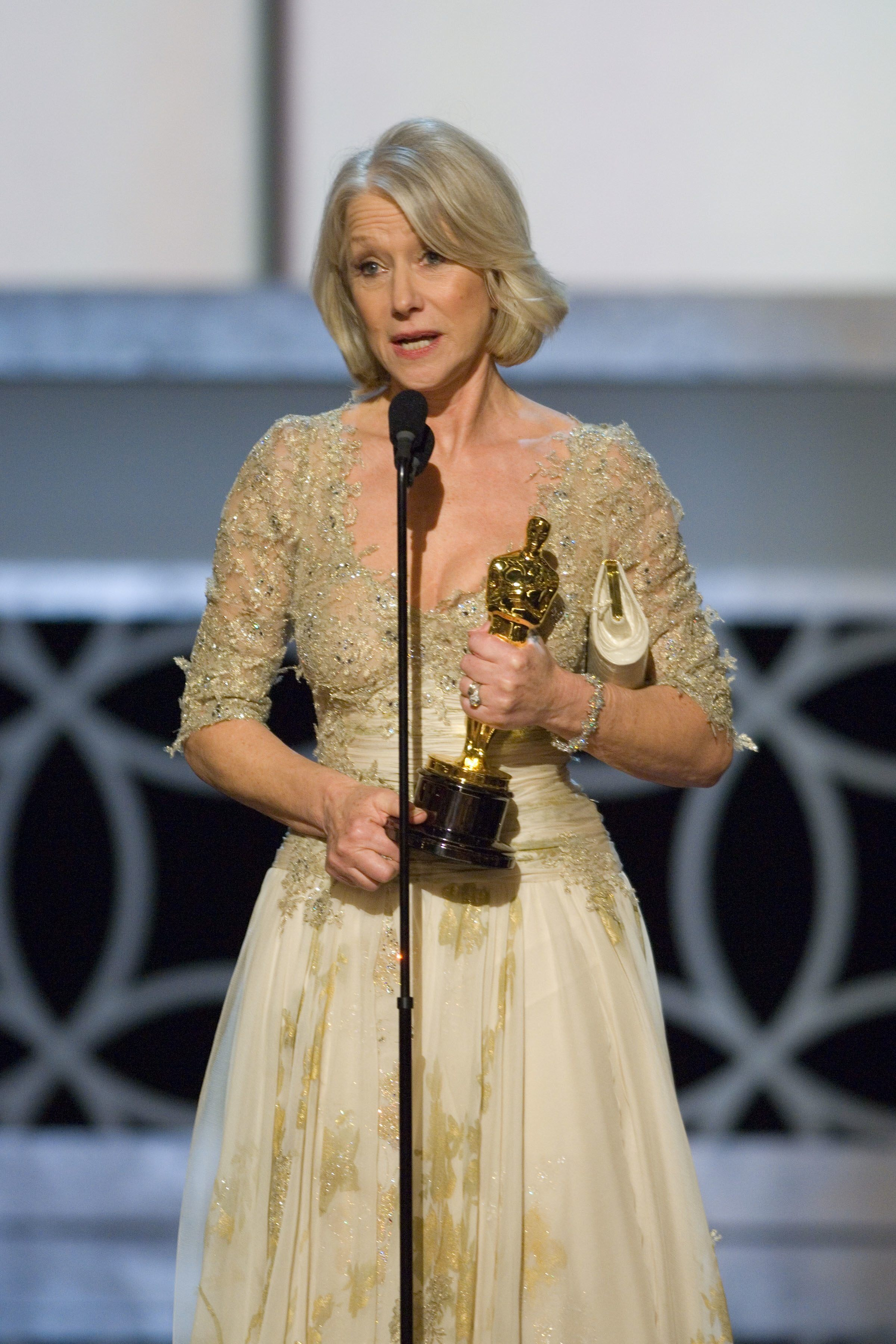 "Best Actress winner Helen Mirren for her performance in ""The Queen."""