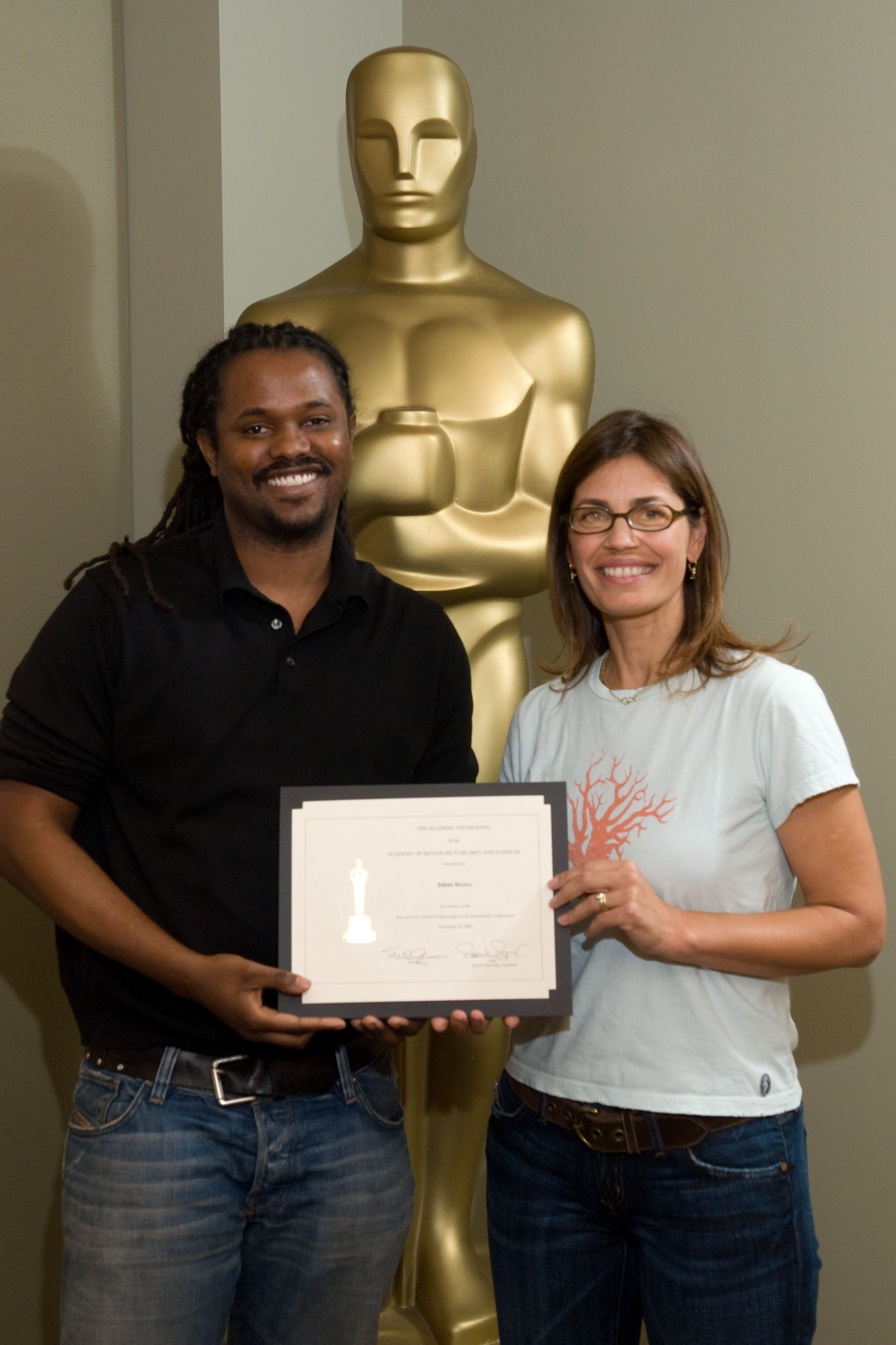 "The Academy of Motion Picture Arts and Sciences' 2007 Nicholl Fellowships in Screenwriting finalists each received a certificate today Julian Breece (left), writer of ""Ball,"" with Oscar-nominated screenwriter Susannah Grant, chair of the Nicholl Committee"