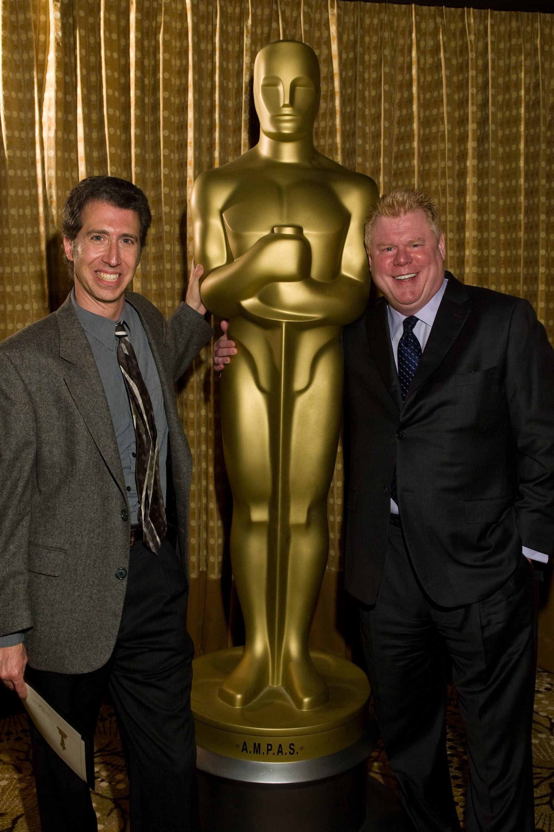 "Nicholl committee member Dan Petrie, Jr. (right), and Michael Hare, writer of ""The Fly Fisher."""