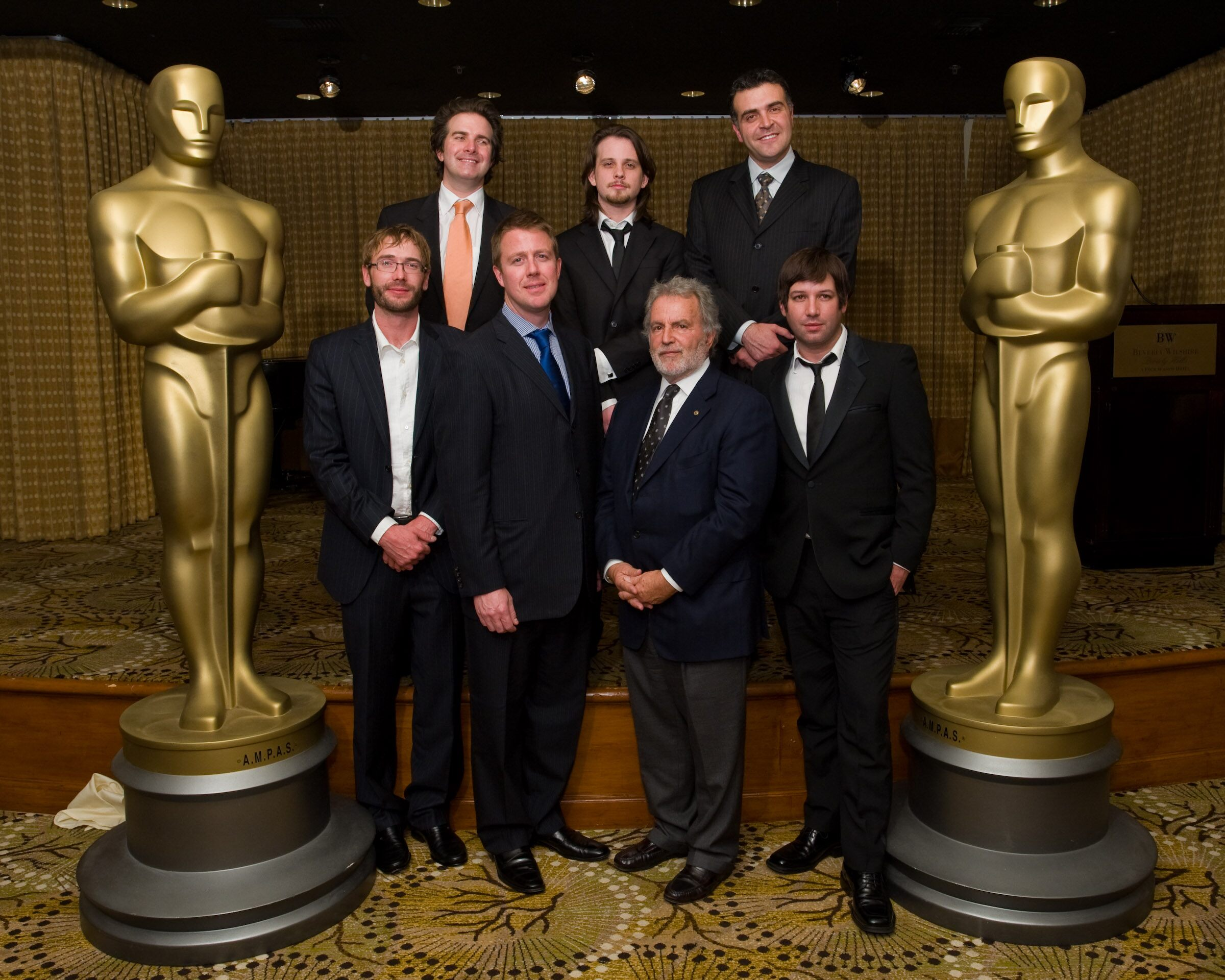 The 2008 winners with President of the Academy Sid Ganis
