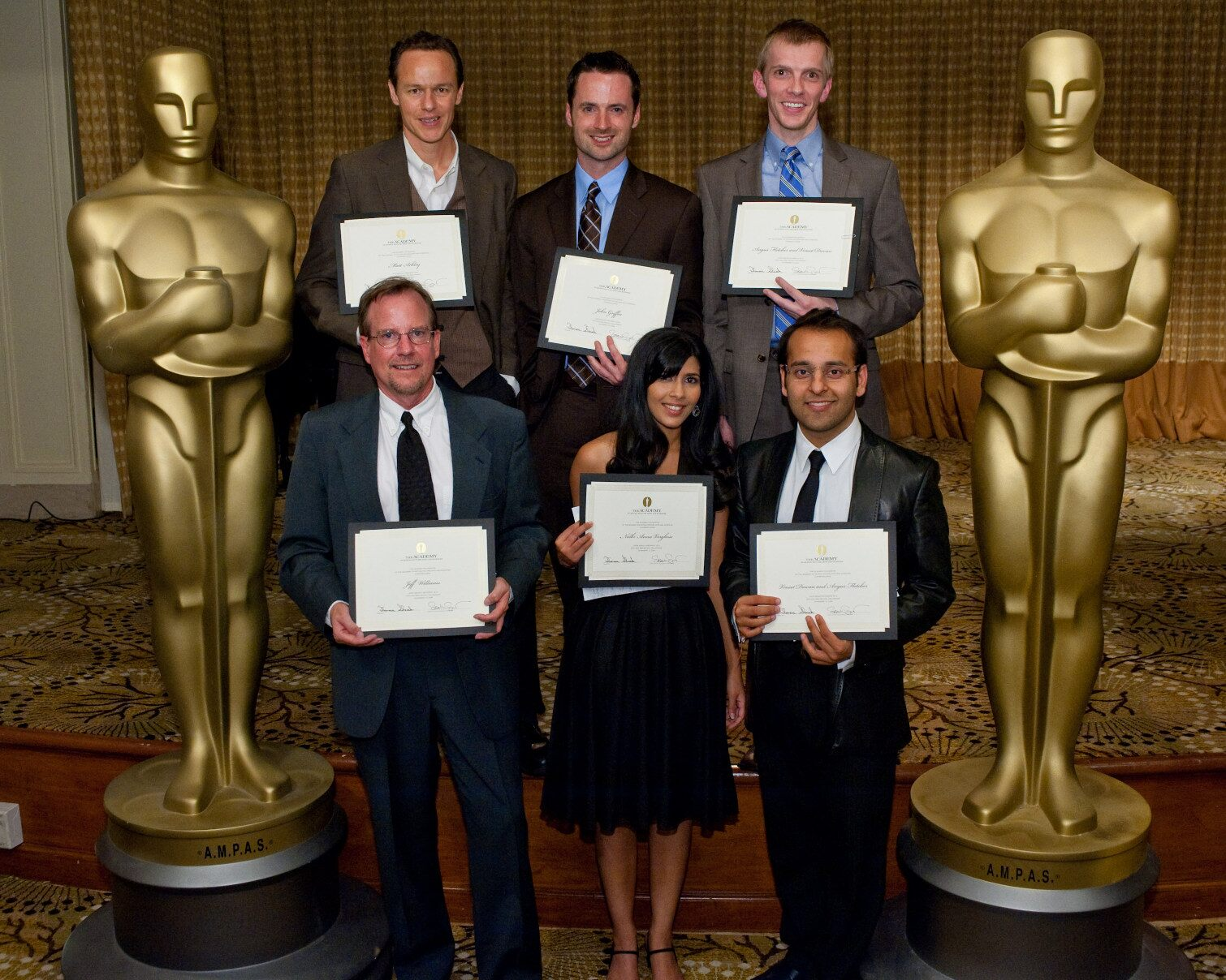 """Fellowships in Screenwriting last night (November 13) in Beverly Hills. Pictured here are this year's fellows: (left to right, front row) Jeff Williams, writer of """"Pure""""; Nidhi Anna Verghese, writer of """"Jallianwala Bagh""""; Vineet Dewan, co-writer of """"Sand"""