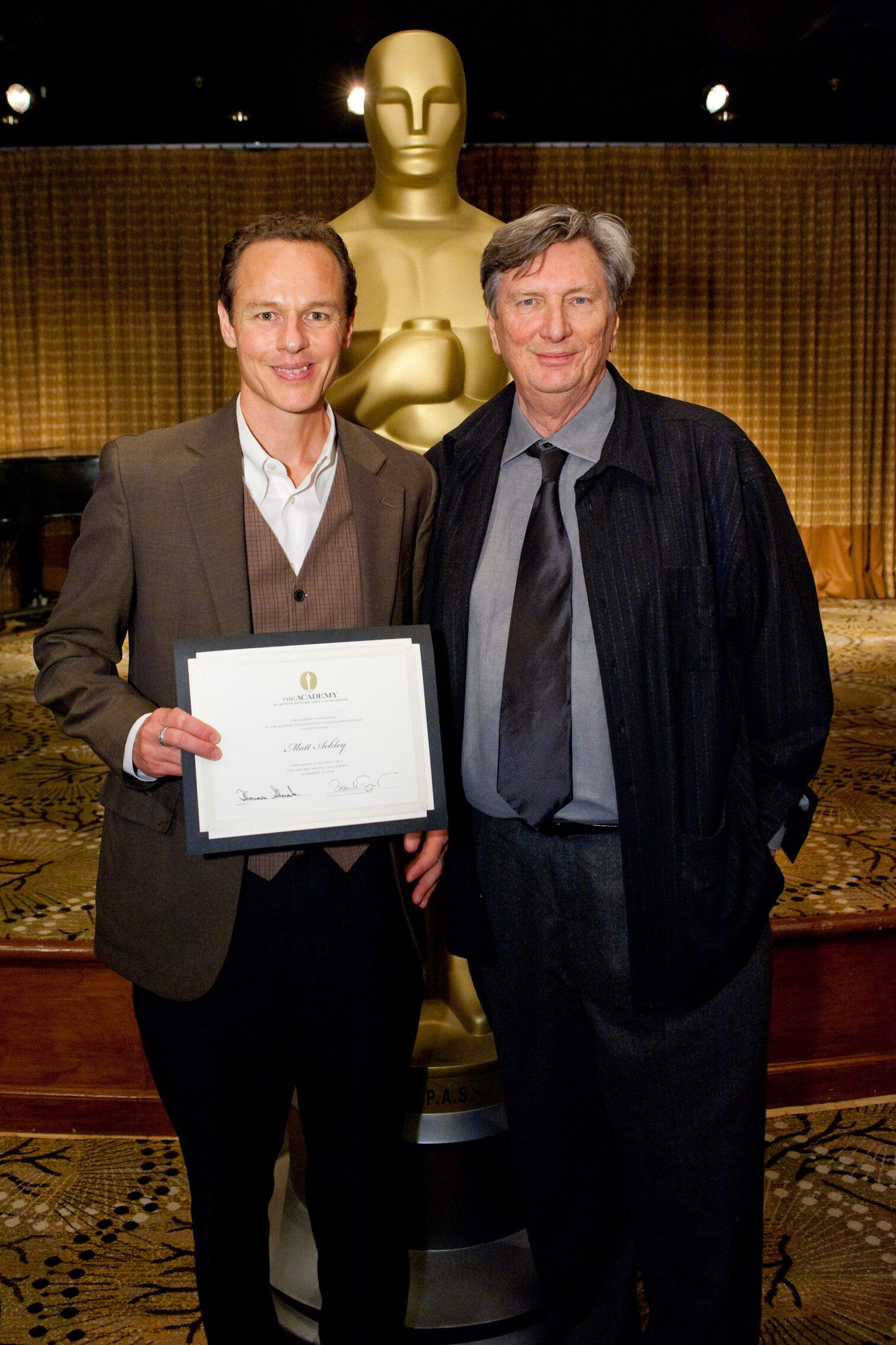 "Matt Ackley (left), writer of ""Victoria Falls,"" and Nicholl committee member John Bailey."