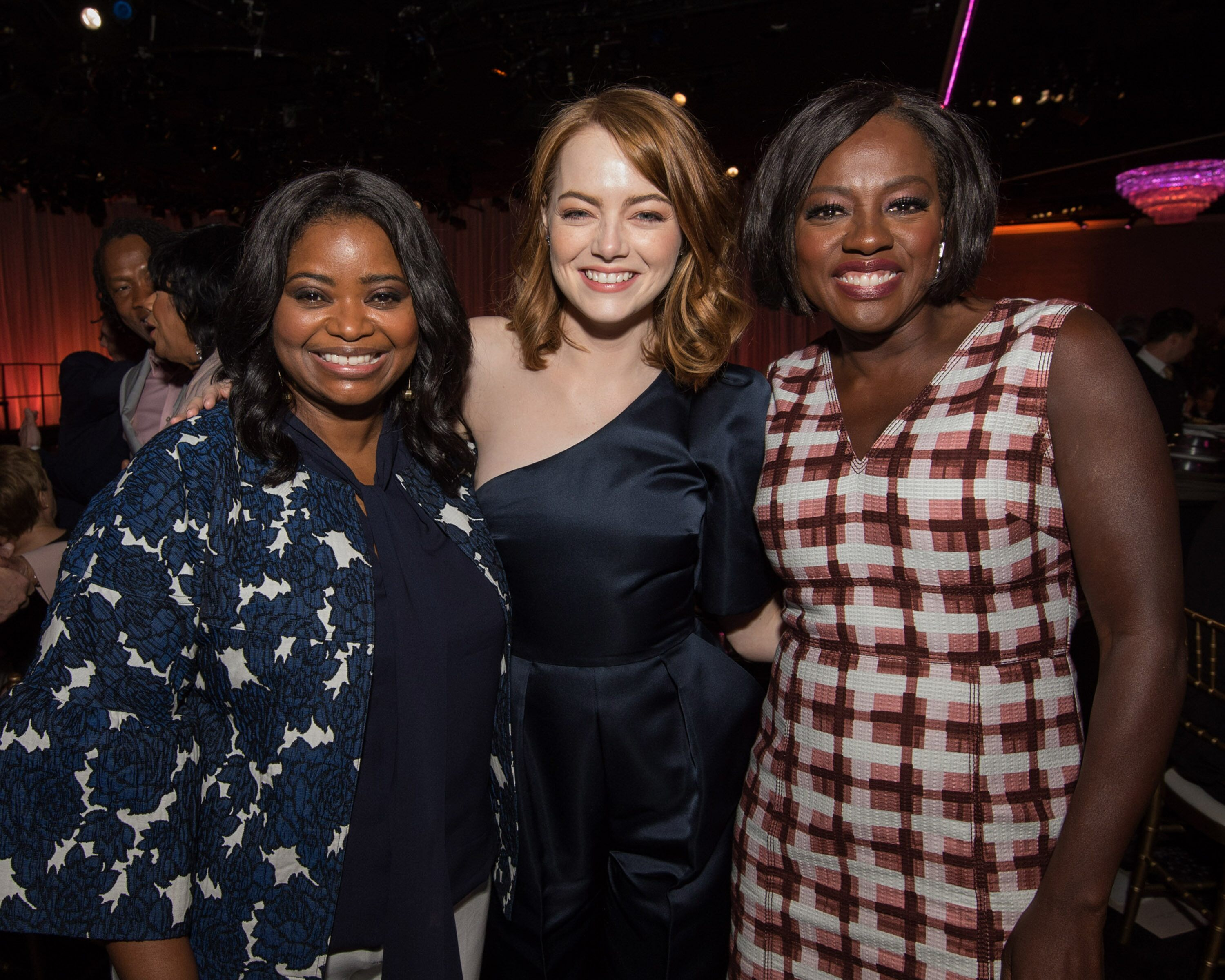 Oscar nominees Octavia Spencer, Emma Stone and Viola Davis