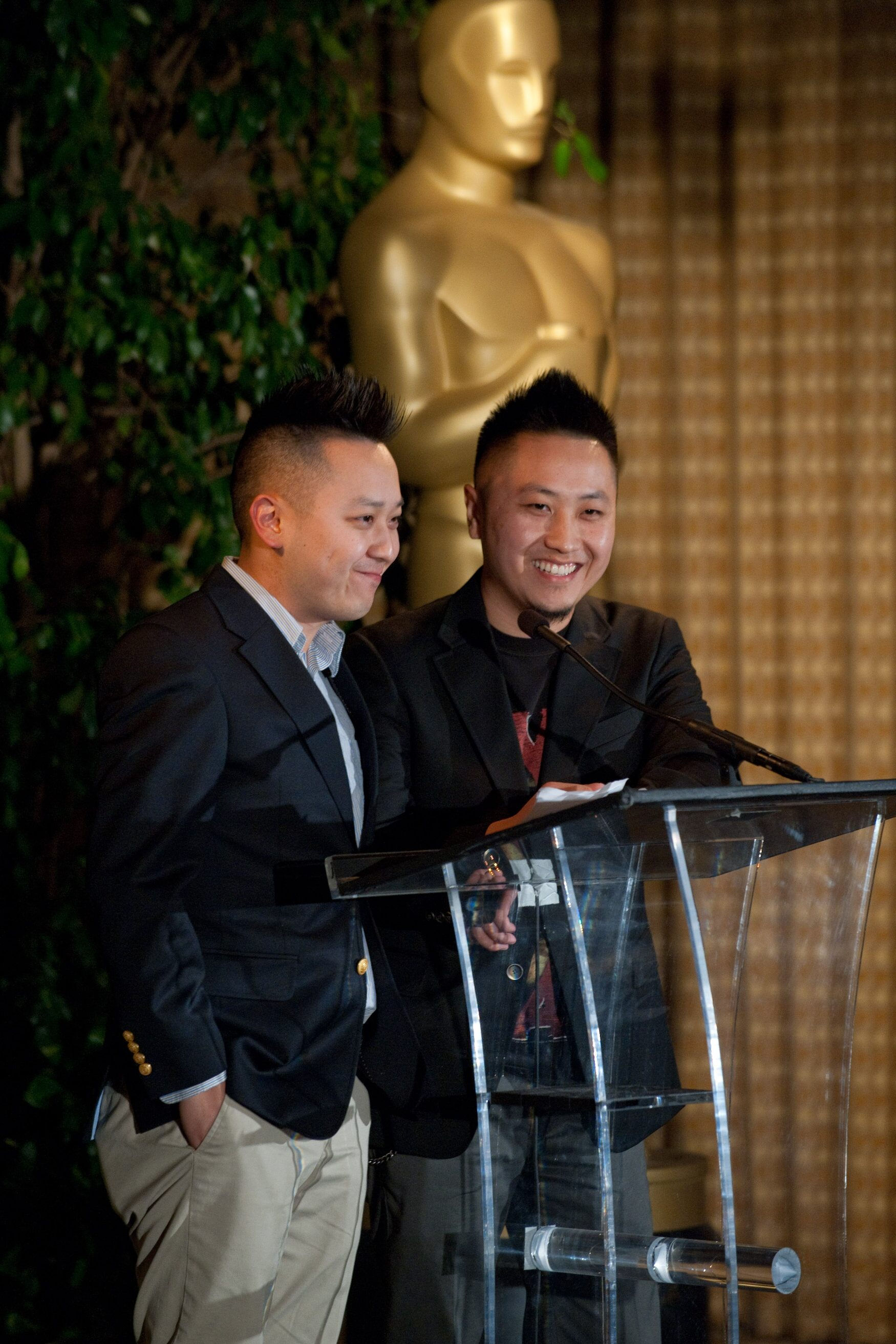 "The Academy of Motion Picture Arts and Sciences presented its Nicholl Fellowships in Screenwriting on November 3 in Beverly Hills. Pictured here: fellows Abel Vang (left) and Burlee Vang (right), writers of ""The Tiger's Child."""
