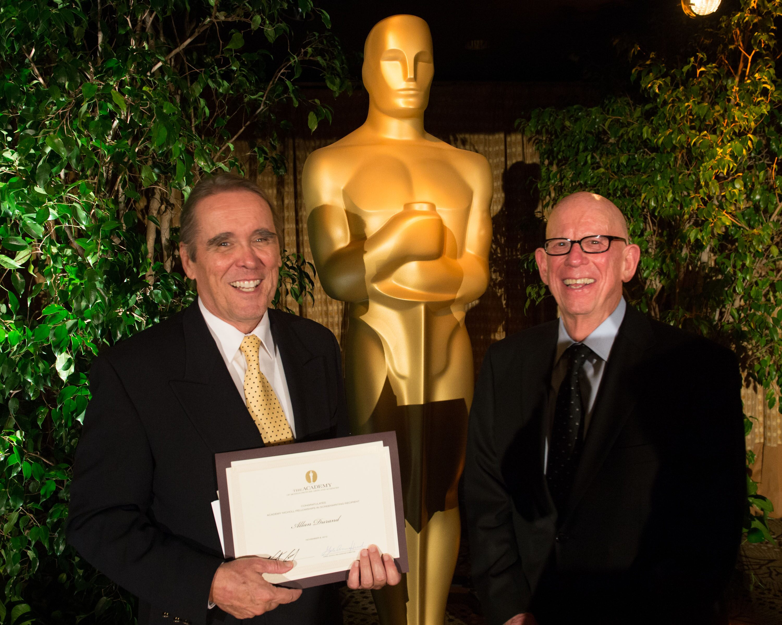 "Fellow Allan Durand, writer of ""Willie Francis Must Die Again,"" and Nicholl Fellowships Committee member Robert Shapiro"