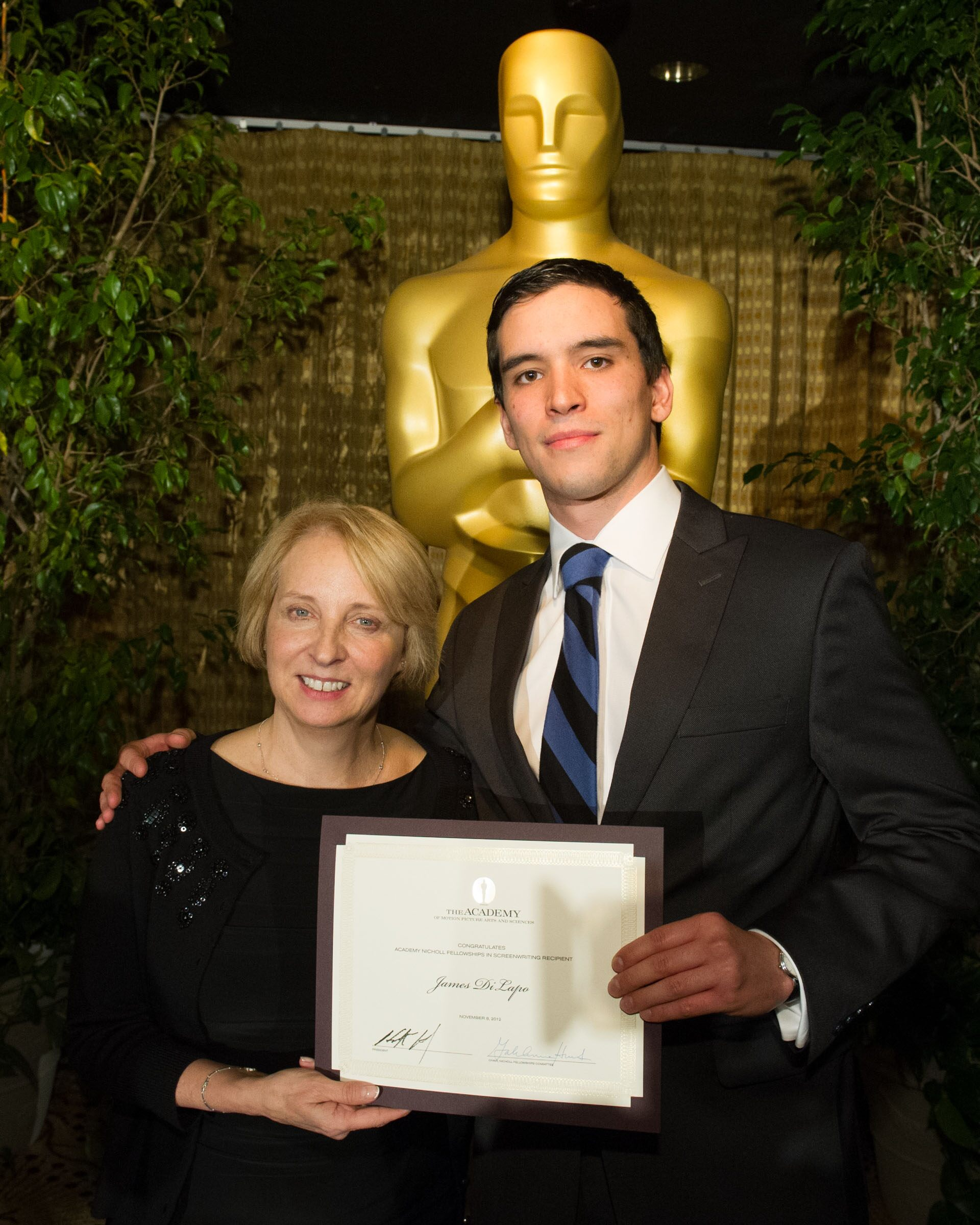 "Nicholl Fellowships Committee member Buffy Shutt and Fellow James DiLapo, writer of ""Devils at Play"""