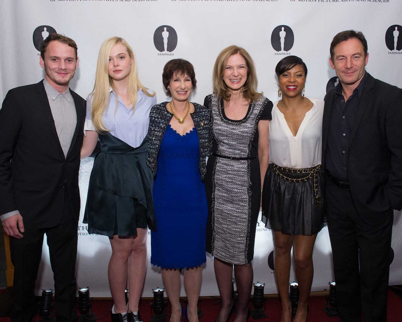 Pictured (left to right): actor Anton Yelchin, actress Elle Fanning, Nicholl Fellowships Chair Gale Anne Hurd, Academy CEO Dawn Hudson, actress Taraji P. Henson and actor Jason Isaacs.