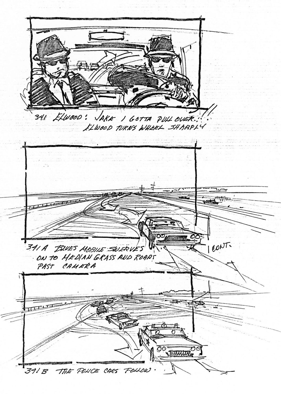 The elaborate car chases in The Blues Brothers were carefully storyboarded, and a 24-hour body shop was kept on site to repair damaged automobiles during shooting.