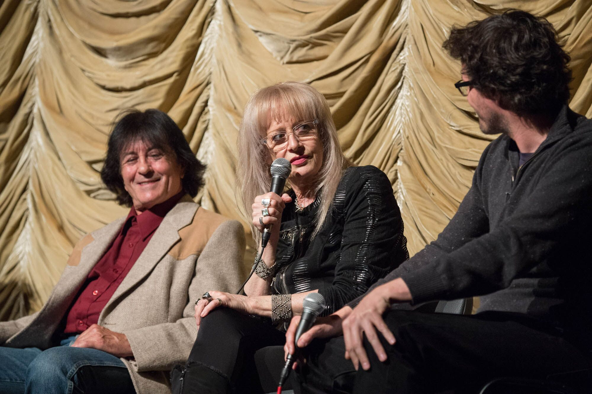 Musician Lee Ving (left), director Penelope Spheeris (center) and host Mark Toscano