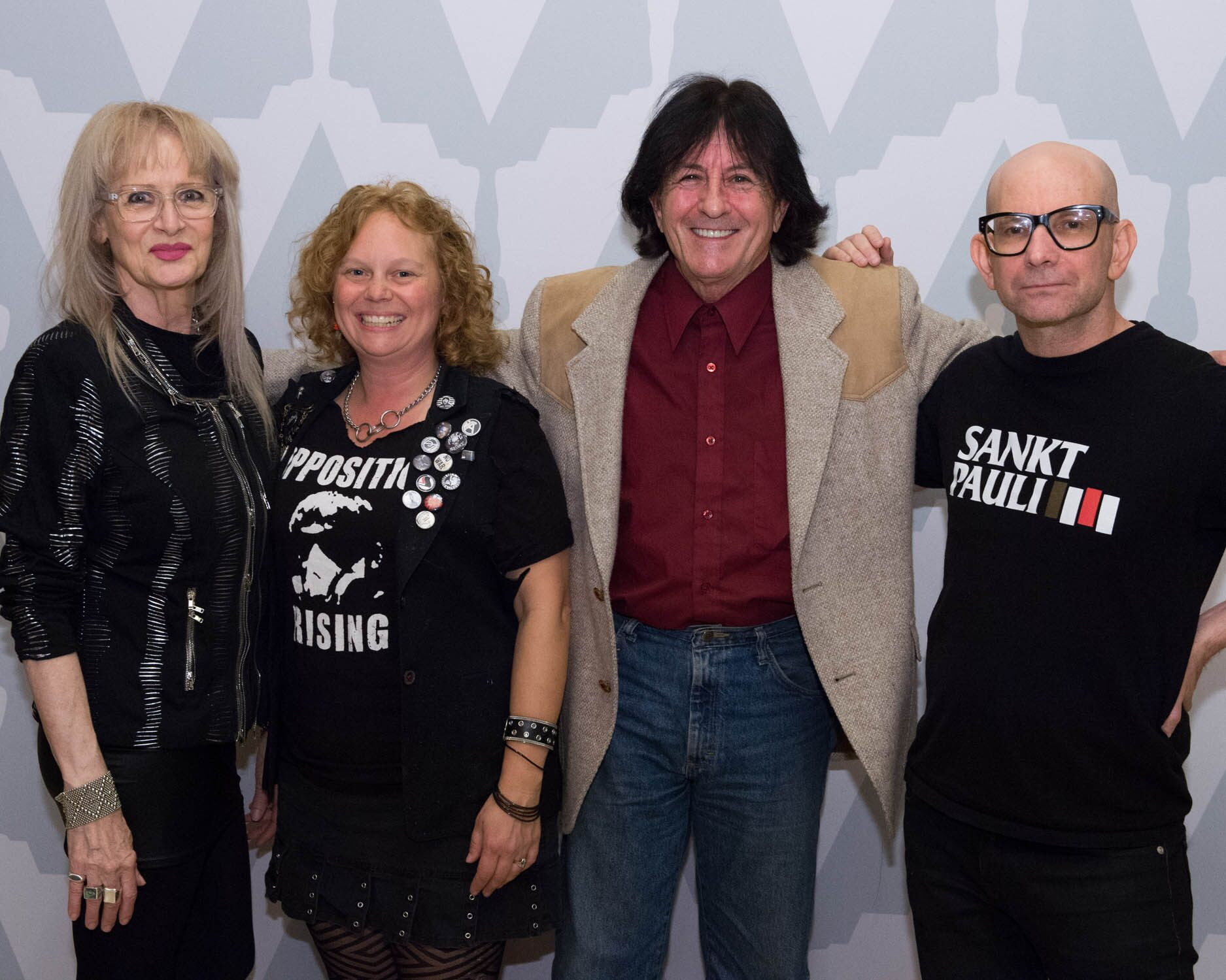 (left to right): director Penelope Spheeris, musician Kristen Patches, musician Lee Ving and musician Greg Hetson.