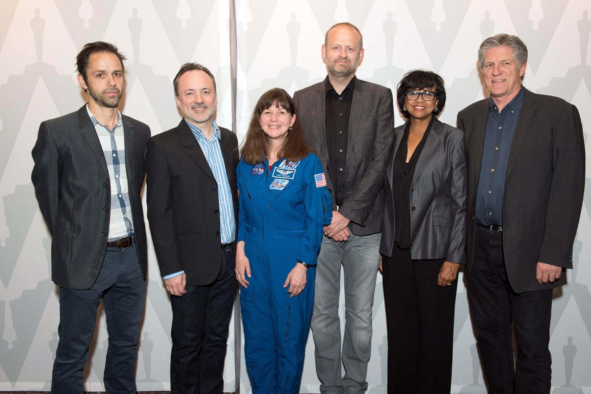 (left to right): Animation Supervisor Max Solomon, Visual Effects Supervisor Tim Webber, Astronaut Cady Coleman, Film Editor Mark Sanger, Academy President Cheryl Boone Isaacs and Academy Governor Bill Kroyer.
