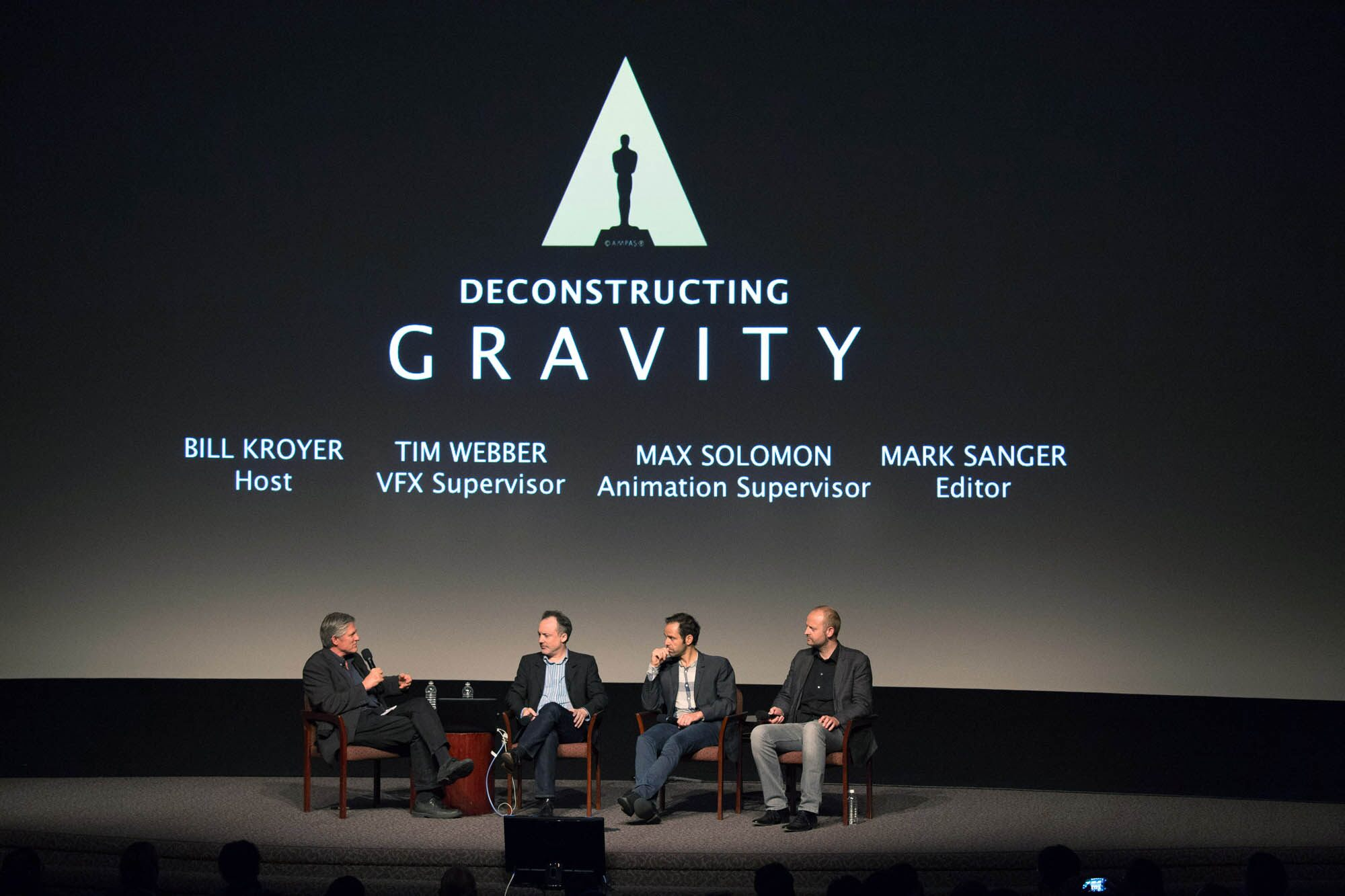 (left to right): Academy Governor Bill Kroyer, Visual Effects Supervisor Tim Webber, Animation Supervisor Max Solomon and Film Editor Mark Sanger.