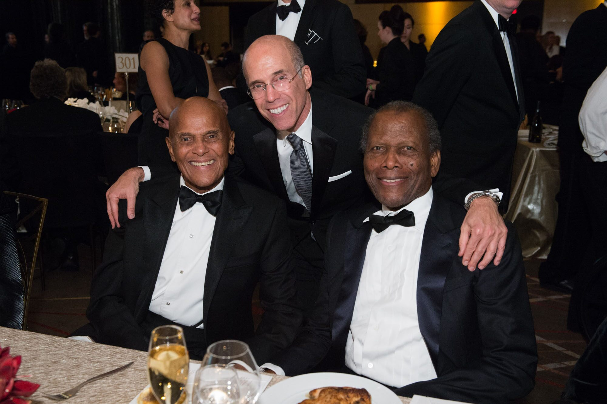 Jean Hersholt Humanitarian Award recipient Harry Belafonte (left), Jeffrey Katzenberg (center) and Sidney Poitier