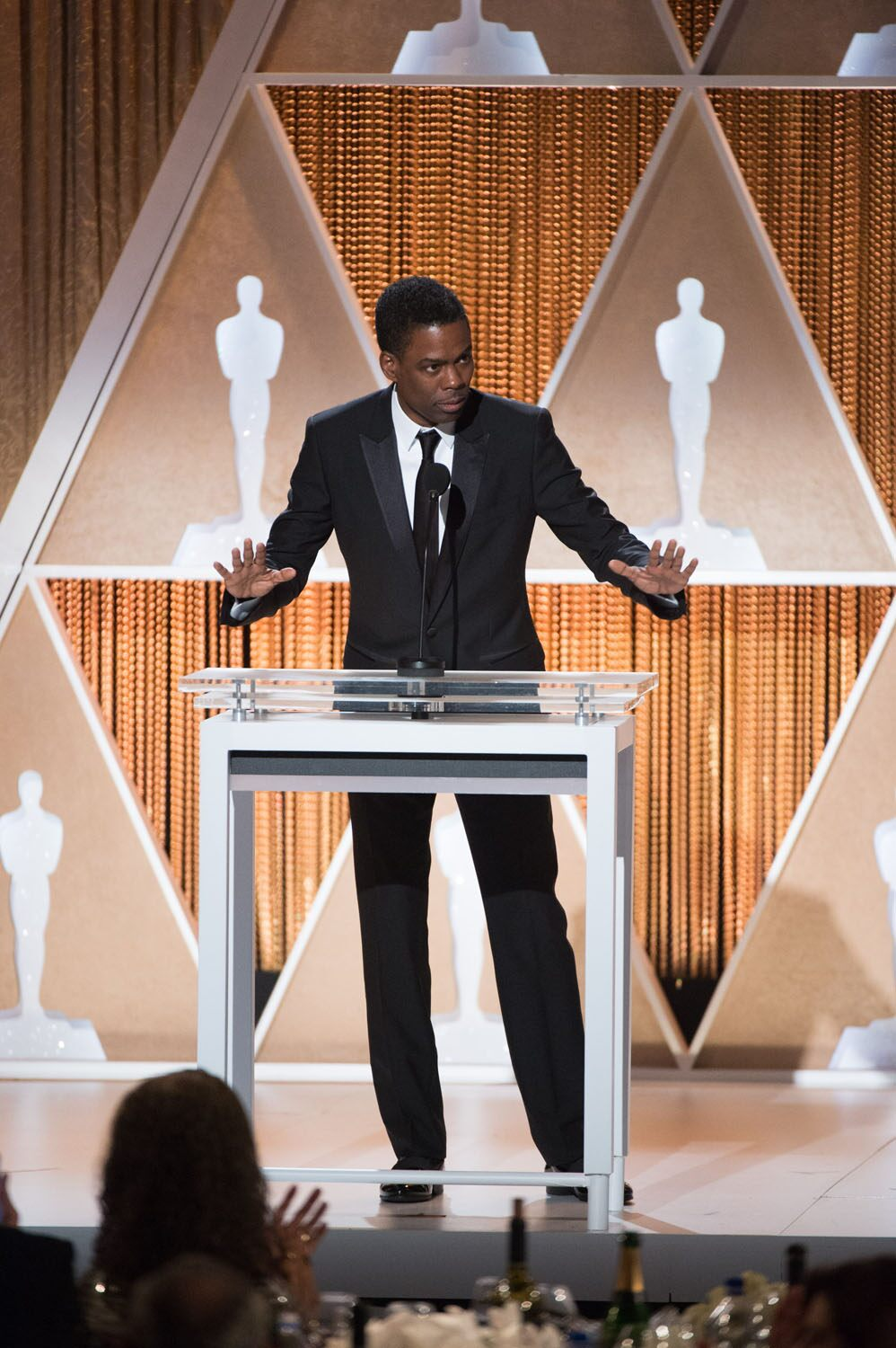 Actor Chris Rock speaks as part of the award presentation to Jean Hersholt Humanitarian Award recipient Harry Belafonte during the 2014 Governors Awards
