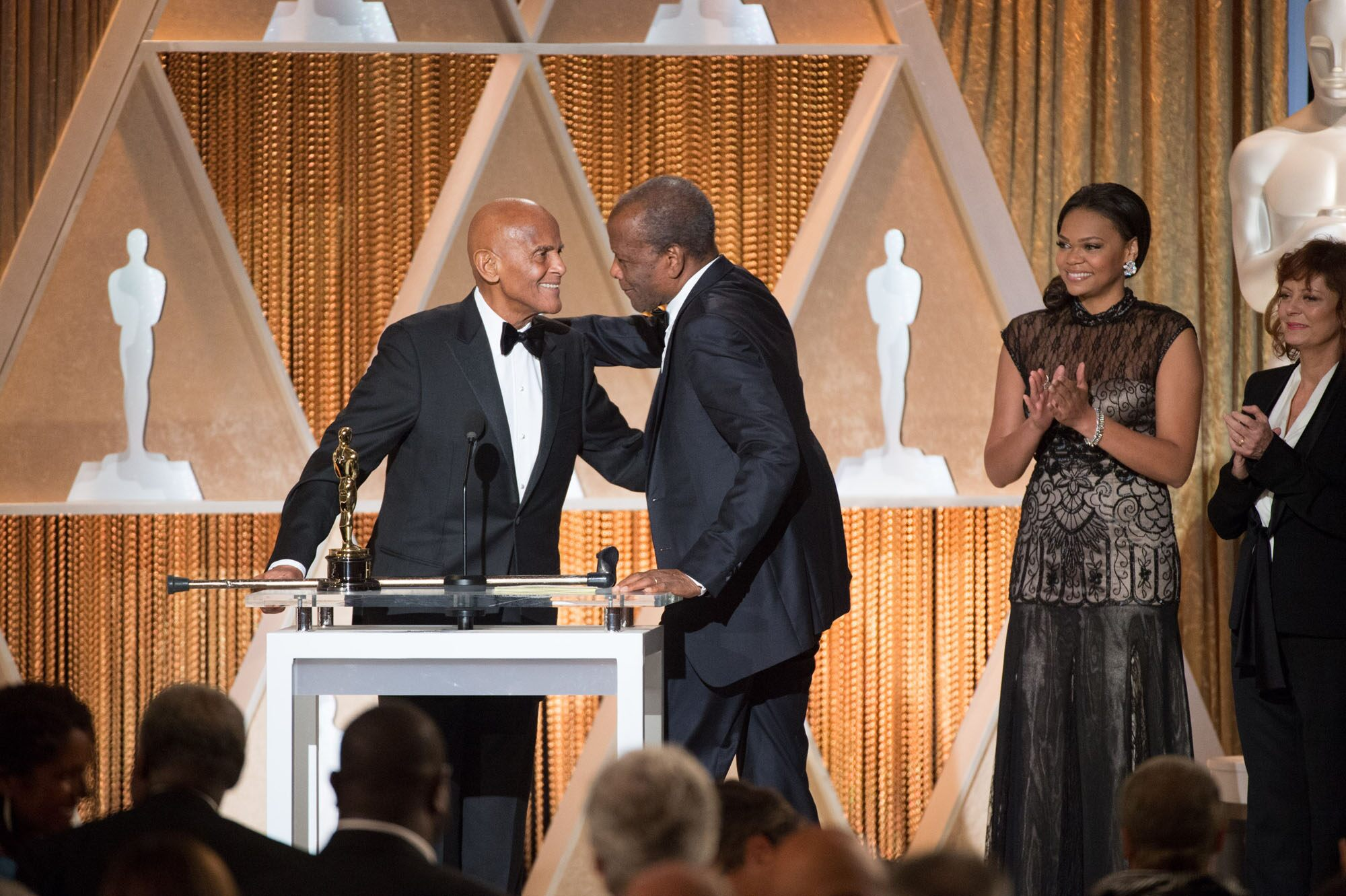 Jean Hersholt Humanitarian Award to Harry Belafonte (left) and Oscar®-winning actor Sidney Poitier during the 2014 Governors Awards