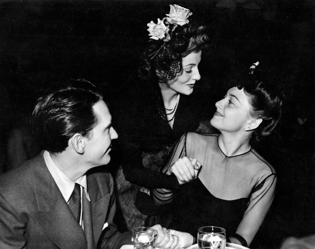 Joan Fontaine, Olivia de Havilland, Burgess Meredith