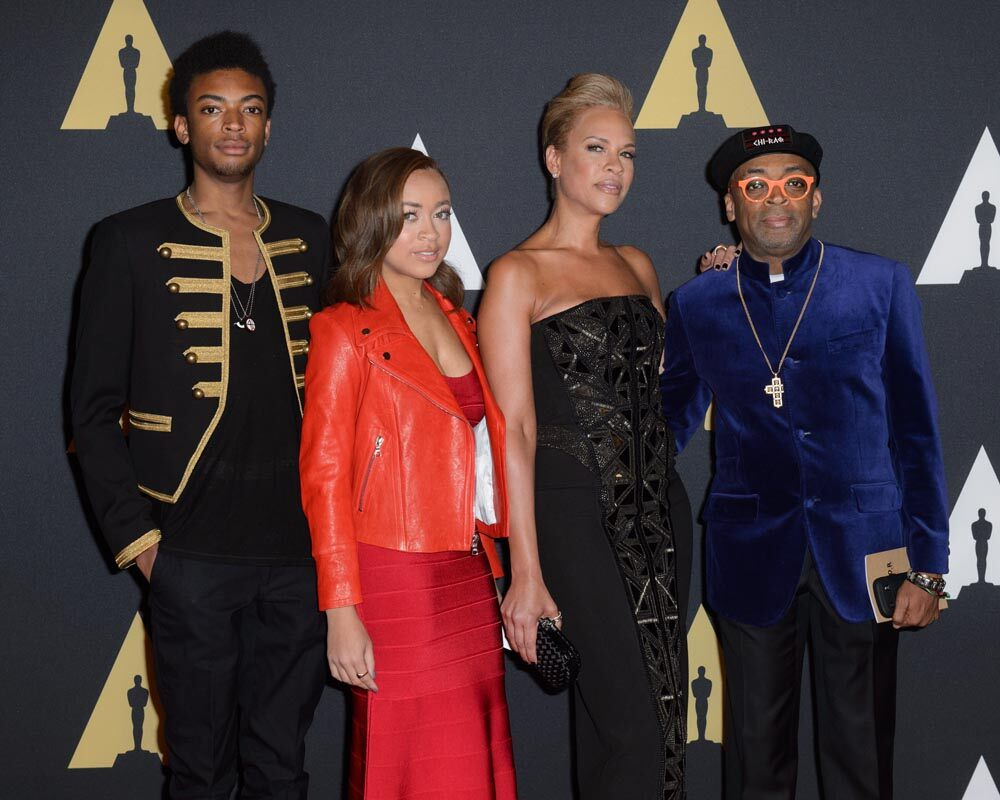 Honorary Award recipient Spike Lee (right) with his son Jackson Lee, daughter Satchel Lee and wife Tonya Lewis Lee attend the Academy's 7th Annual Governors Awards