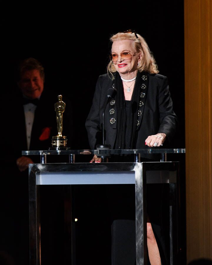 Honorary Award recipient Gena Rowlands accepts her award at the 2015 Governors Awards