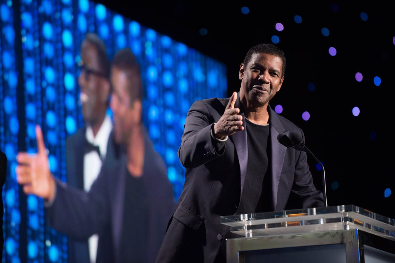 Oscar®-winning actor Denzel Washington speaks as part of the award presentation to Honorary Award recipient Spike Lee at the 2015 Governors Awards
