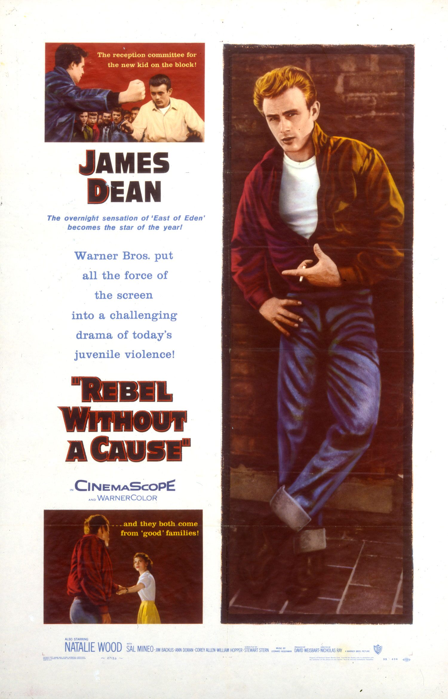 James Dean's immediate stardom after East of Eden became a major selling point when Rebel without a Cause opened in theaters later the same year.