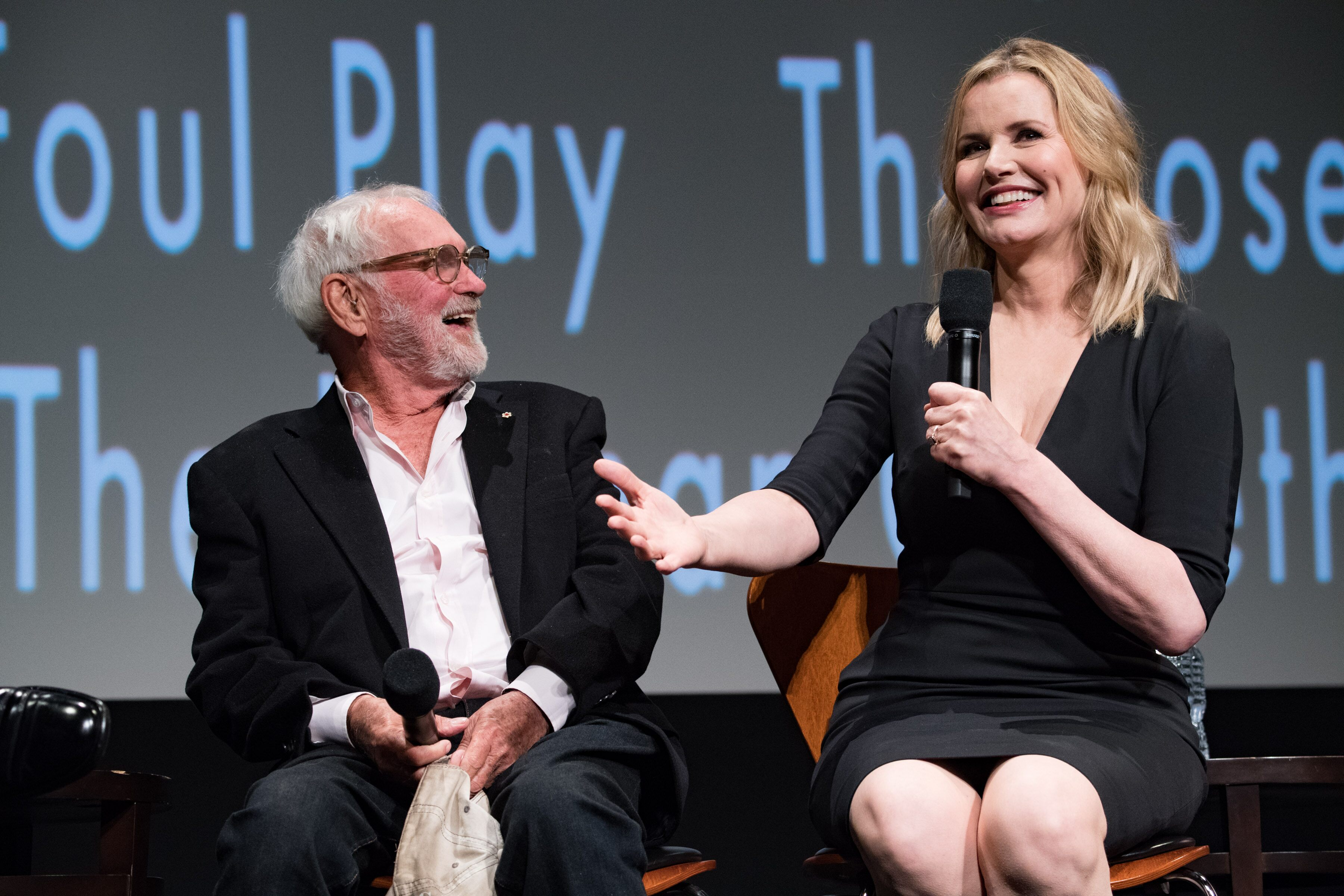 Director Norman Jewison (left) and Geena Davis