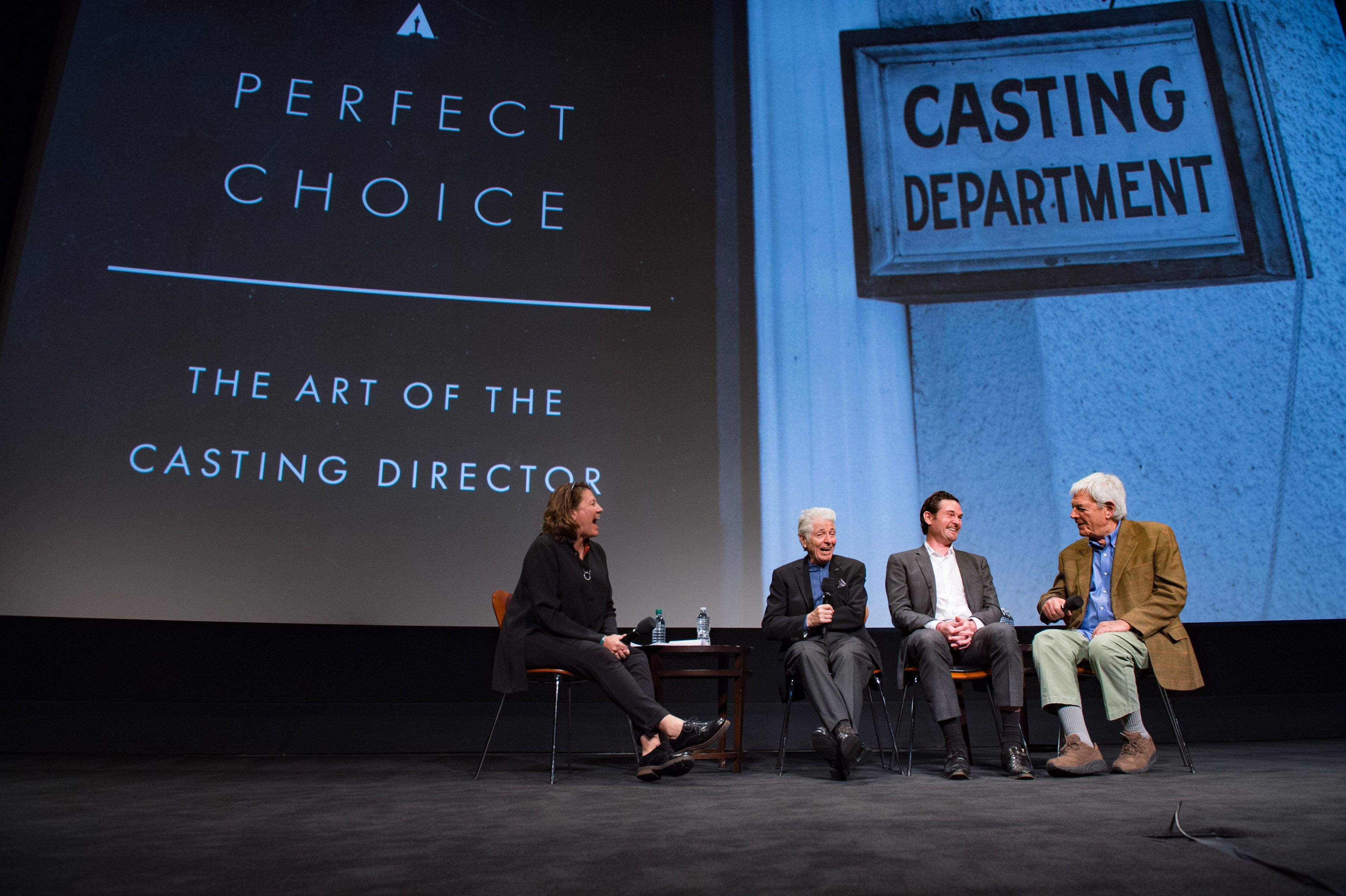 "Academy Governor Lora Kennedy (left), Casting Director Mike Fenton (left center), Actor Henry Thomas (right center) and Director Richard Donner during ""Perfect Choice: the Art of the Casting Director"""