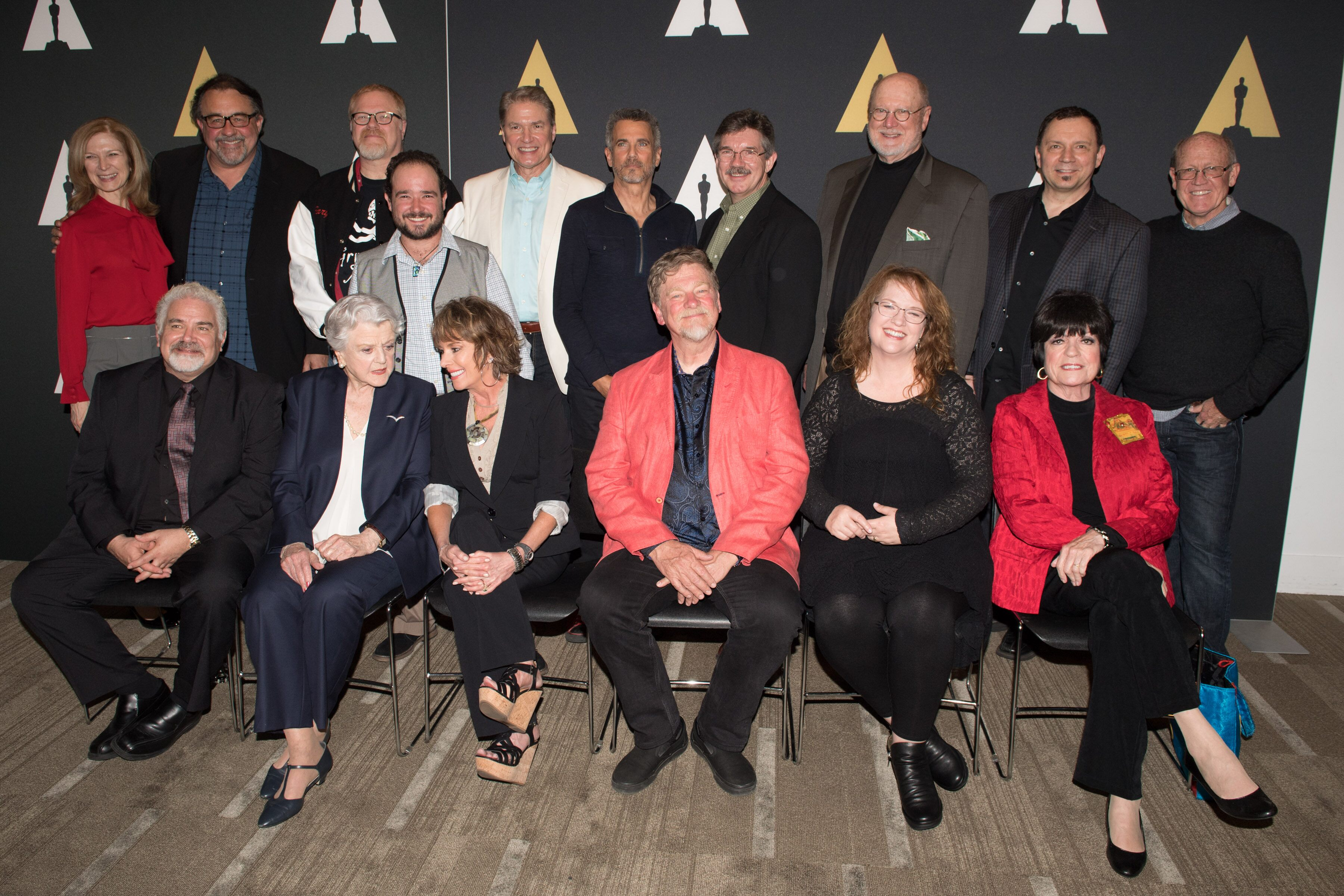Pictured (front row left to right):  Actor Jesse Corti, Actress Angela Lansbury, Actress Paige O'Hara, Story Supervisor Roger Allers, Key Story Artist Brenda Chapman and Actress Jo Anne Worley Pictured (back row left to right):  Academy CEO Dawn Hudson, Producer Don Hahn, Director Gary Trousdale, Actor Bradley Pierce, Actor Richard White, Actor Robby Benson, Animator Mark Henn, Actor David Ogden Stiers, Animator Andreas Deja and Animator Glen Keane