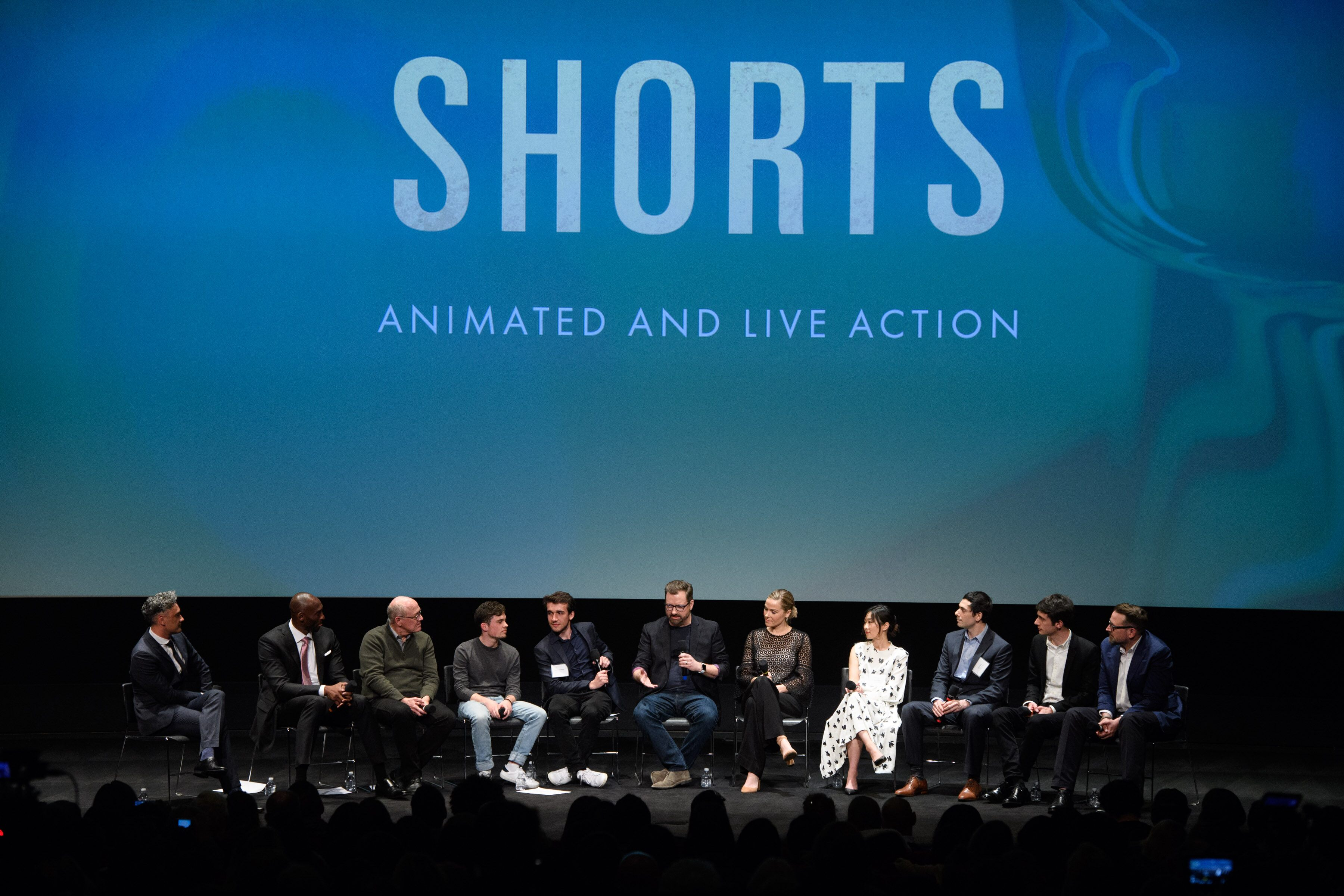 "A panel with the Animated Short Film nominees. From left: Host Taika Waititi with Kobe Bryant and Glen Keane, ""Dear Basketball""; Victor Caire and Gabriel Grapperon, ""Garden Party""; Dave Mullins and Dana Murray, ""Lou""; Ru Kuwahata and Max Porter, ""Negative Space""; and Jan Lachauer and Jacob Schuh, ""Revolting Rhymes""."