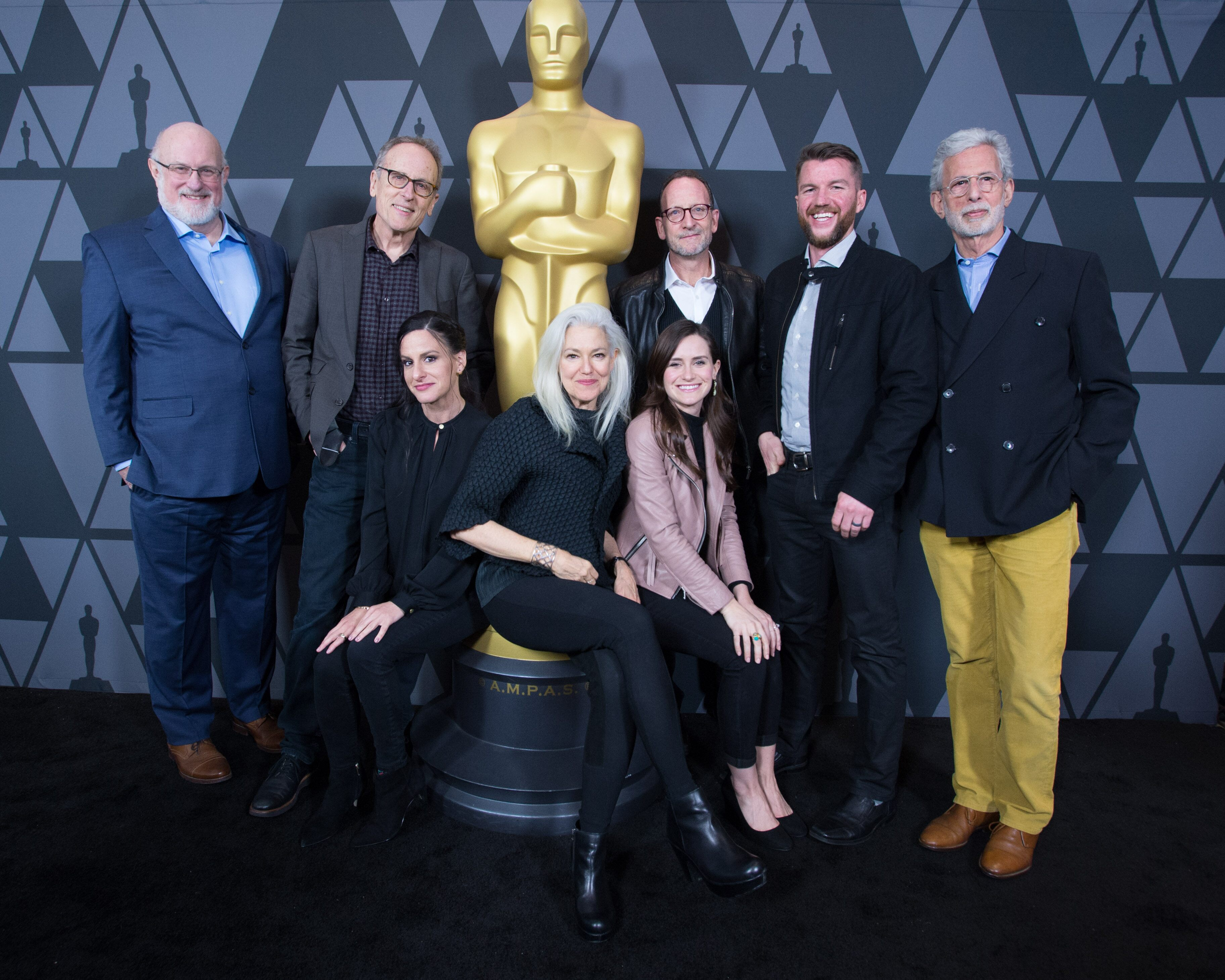 "From Left: Documentary (Short Subject) nominees Thomas Lee Wright, ""Edith + Eddie""; Thomas Lennon, ""Knife Skills""; Laura Checkoway, ""Edith + Eddie""; Kate Davis, ""Traffic Stop""; Elaine McMillion Sheldon, ""Heroin(e)""; David Heilbroner, ""Traffic Stop""; Kerrin Sheldon, ""Heroin(e)""; and Frank Stiefel, ""Heaven is a Traffic Jam on the 405"""