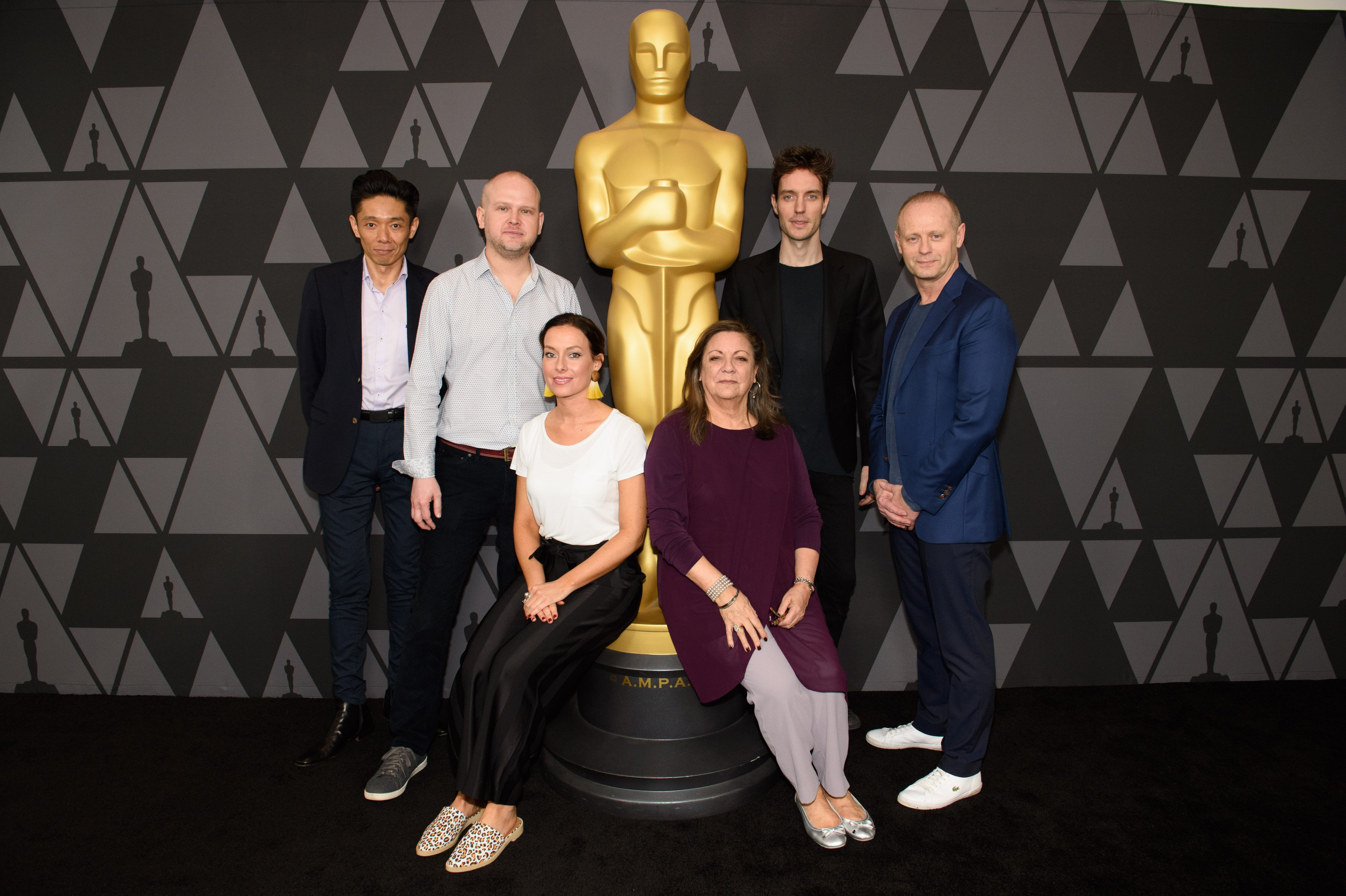 "Makeup and Hairstyling nominees Kazuhiro Tsuji, David Malinowski and Lucy Sibbick, ""Darkest Hour""; Lou Sheppard, ""Victor & Abdul""; Arjen Tuiten, ""Wonder""; and Daniel Phillips, ""Victor & Abdul"""