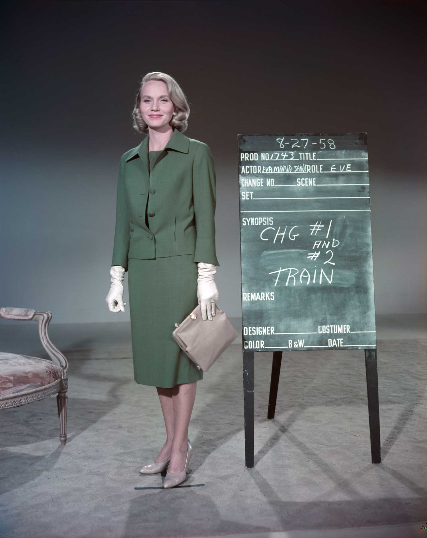 """Seen in this wardrobe reference photo, the Oscar-winning actress was one of the wittiest and most memorable """"Hitchcock blondes"""" in """"North by Northwest."""""""