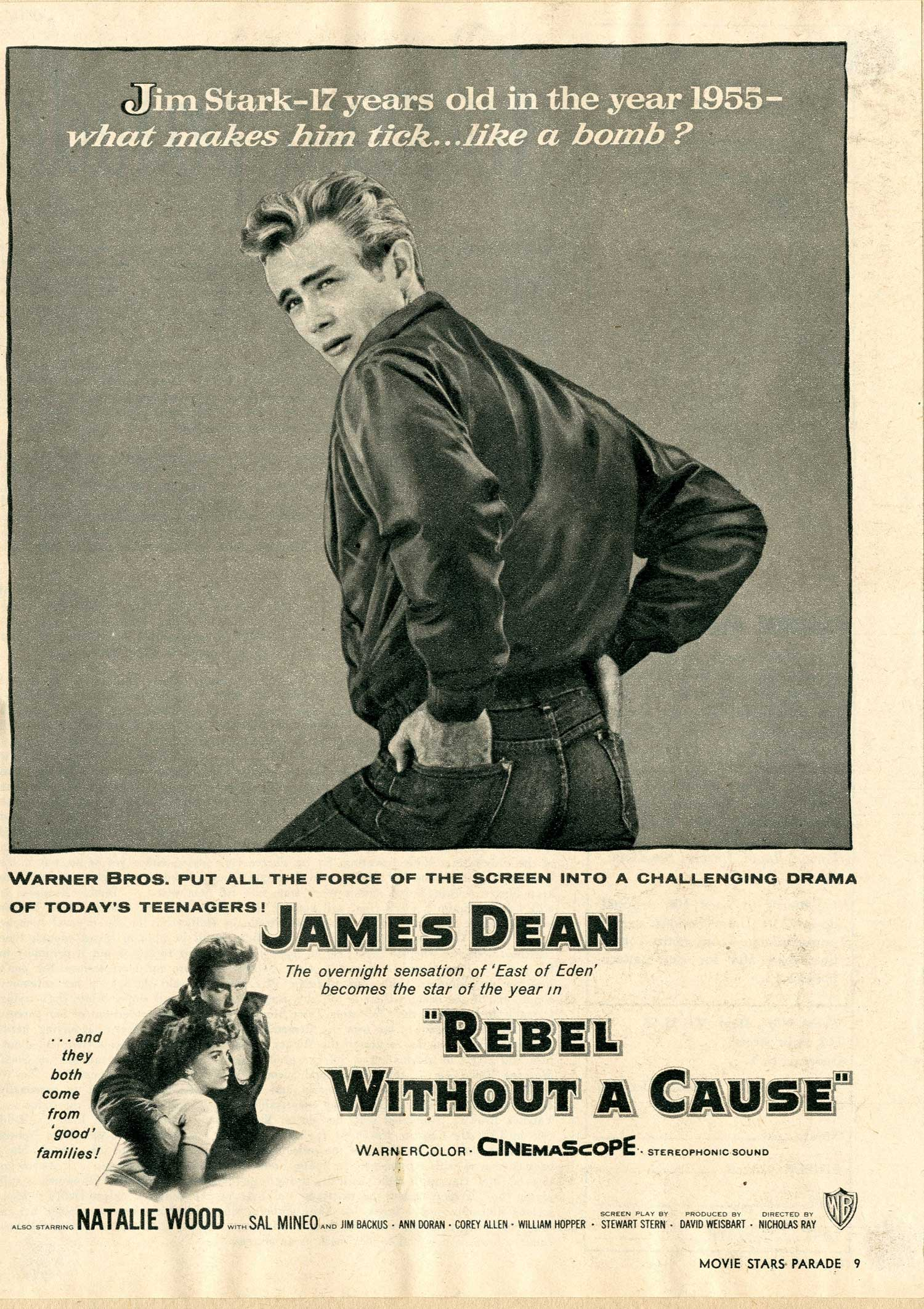 Newspaper and magazine ads for Rebel without a Cause featured a different design from the familiar theatrical poster art.