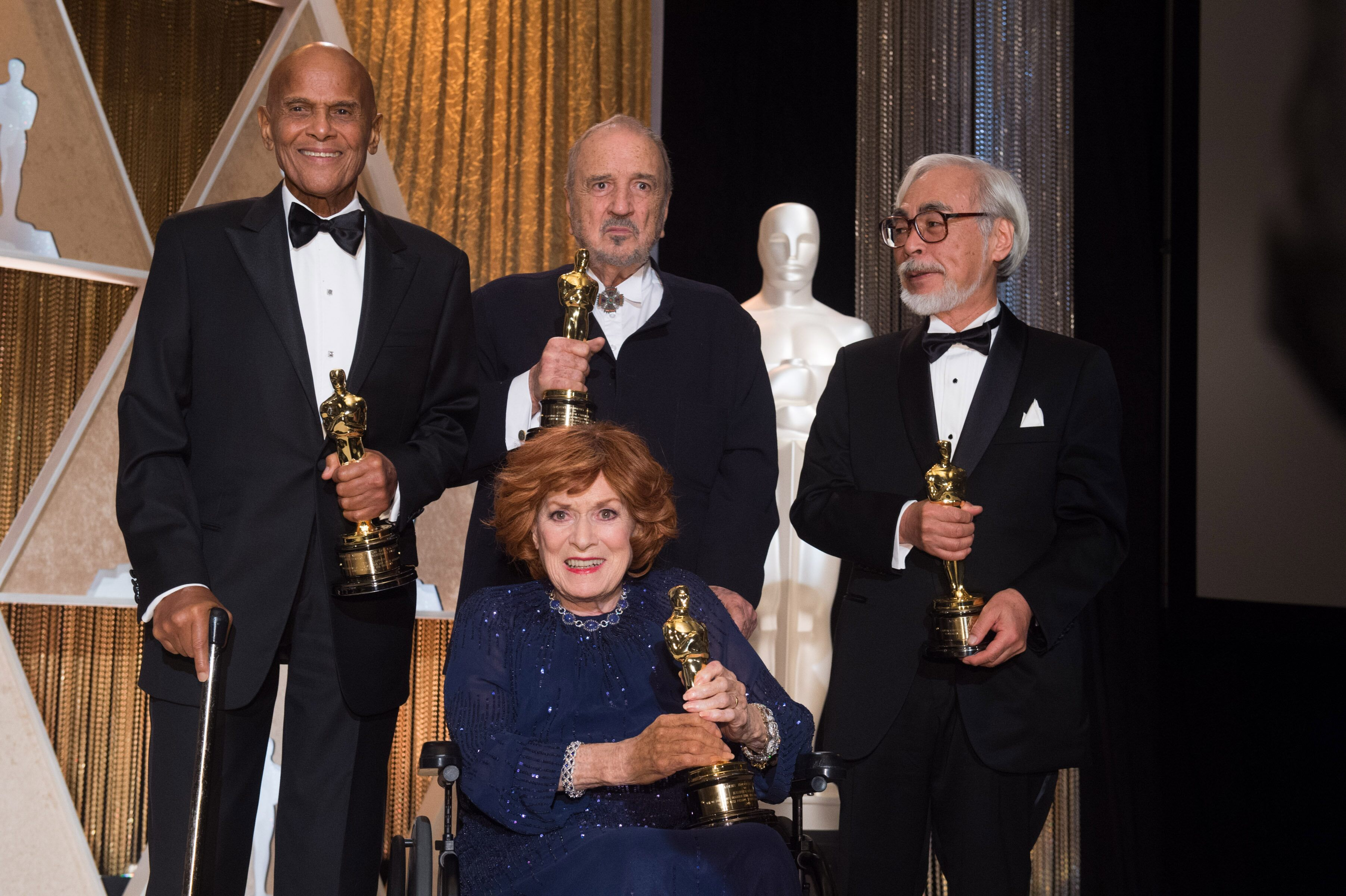 Honorary Awards were presented to Jean-Claude Carrière, Hayao Miyazaki and Maureen O'Hara, and the Jean Hersholt Humanitarian Award to Harry Belafonte.