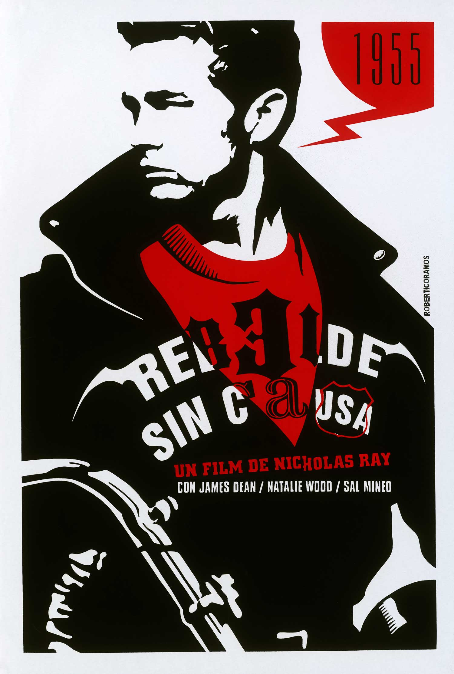 Rebel without a Cause has been reissued in theaters many times over the years, as seen in this striking Italian poster.