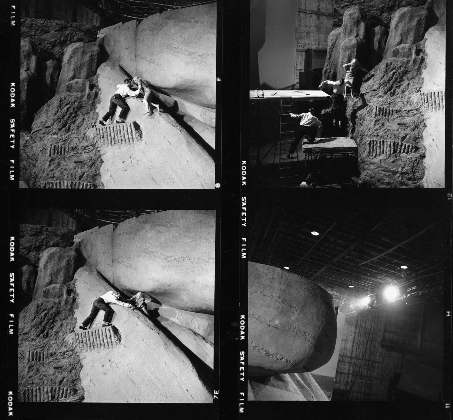 "This contact sheet shows the optical trickery used to show Cary Grant and Eva Marie Saint descending Mount Rushmore in ""North by Northwest."""