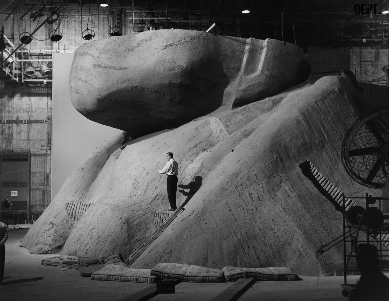 "This behind-the-scenes photo offers a sense of scale for the Mount Rushmore sets created for the climax of ""North by Northwest."""