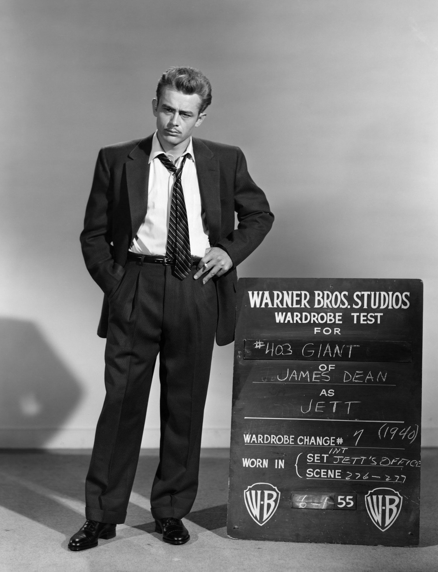 This wardrobe test shot for Giant depicts the middle-aged version of James Dean's character, Texan farmhand-turned-millionaire Jett Rink.