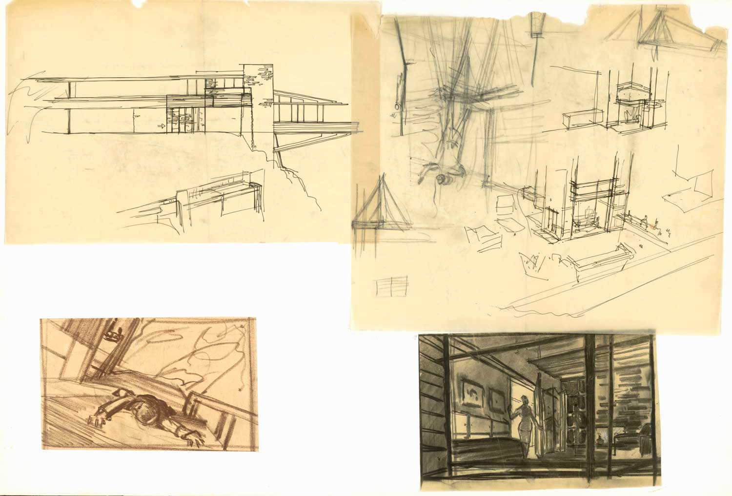 "Production designer Robert F. Boyle created these sketches of James Mason's modern hideout, which Cary Grant scales in ""North by Northwest."""