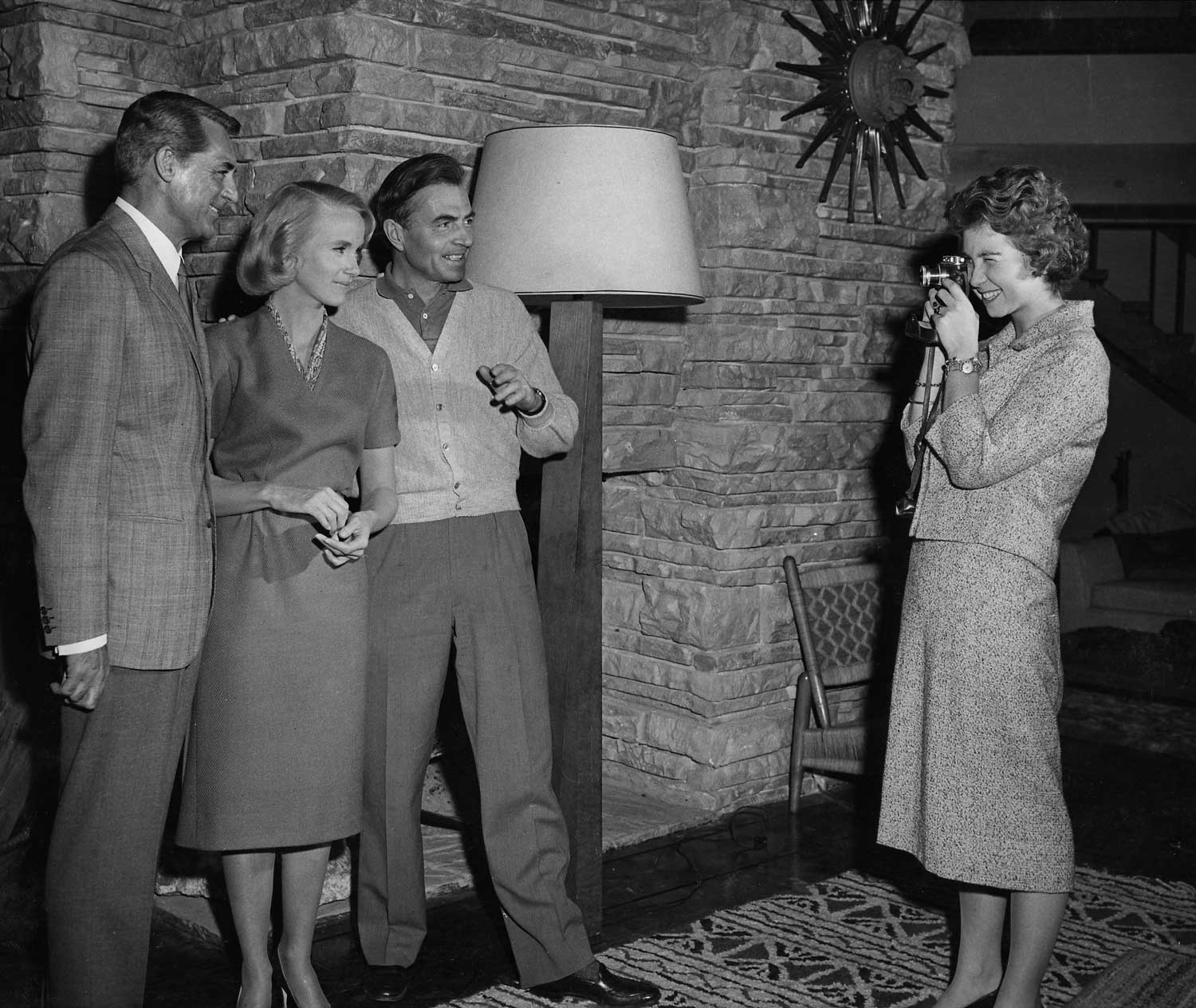 "Cary Grant, Eva Marie Saint and James Mason enjoy a visit from Princess Sophia of Greece while filming ""North by Northwest."""